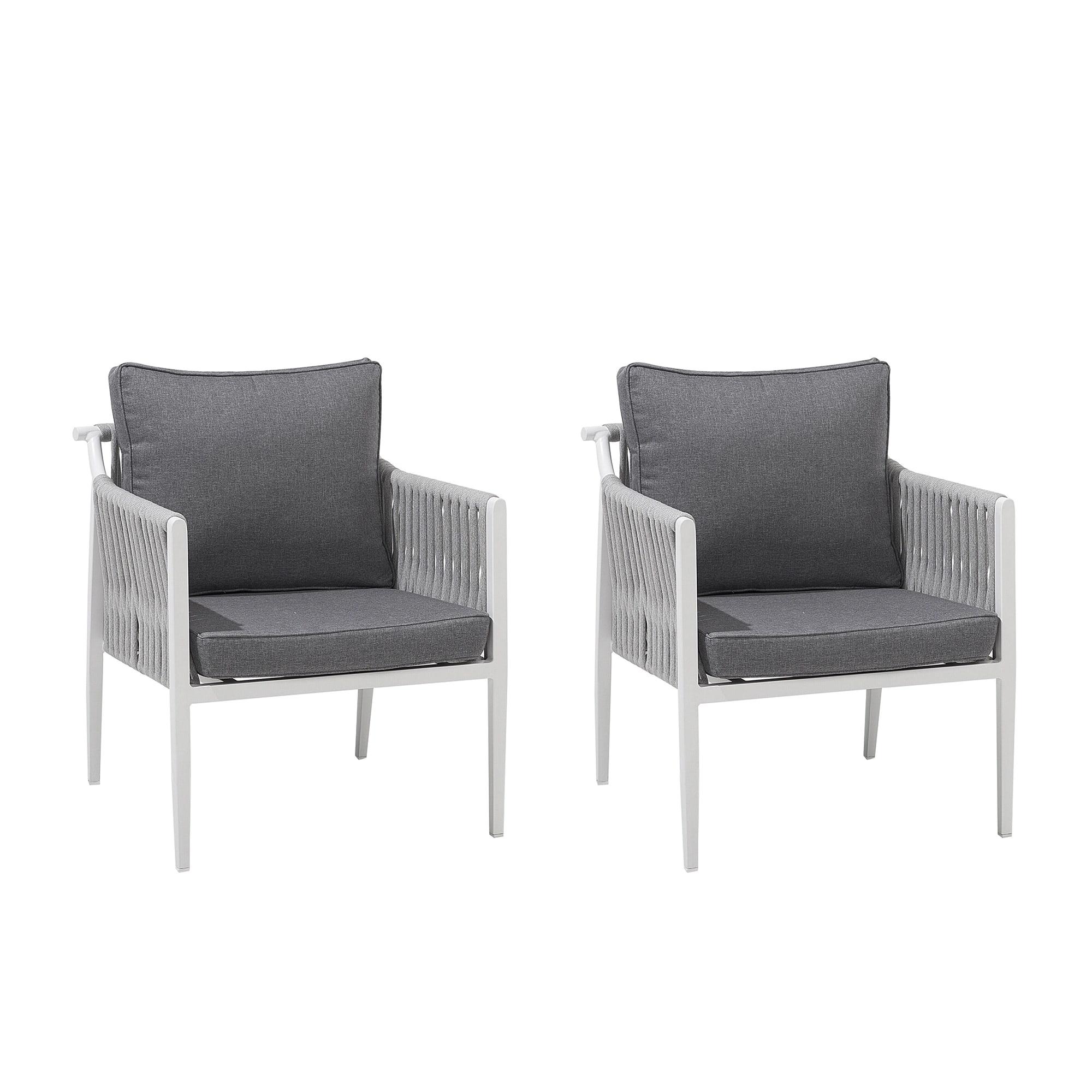 Lot de 2 chaises de jardin en aluminium blanc coussins gris