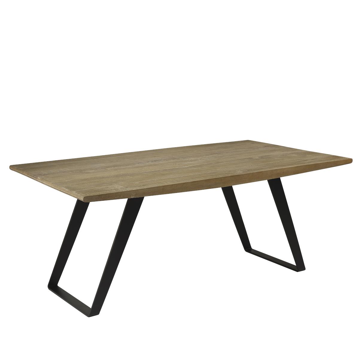 Table plateau chêne massif pieds métal 8 à 10 couverts