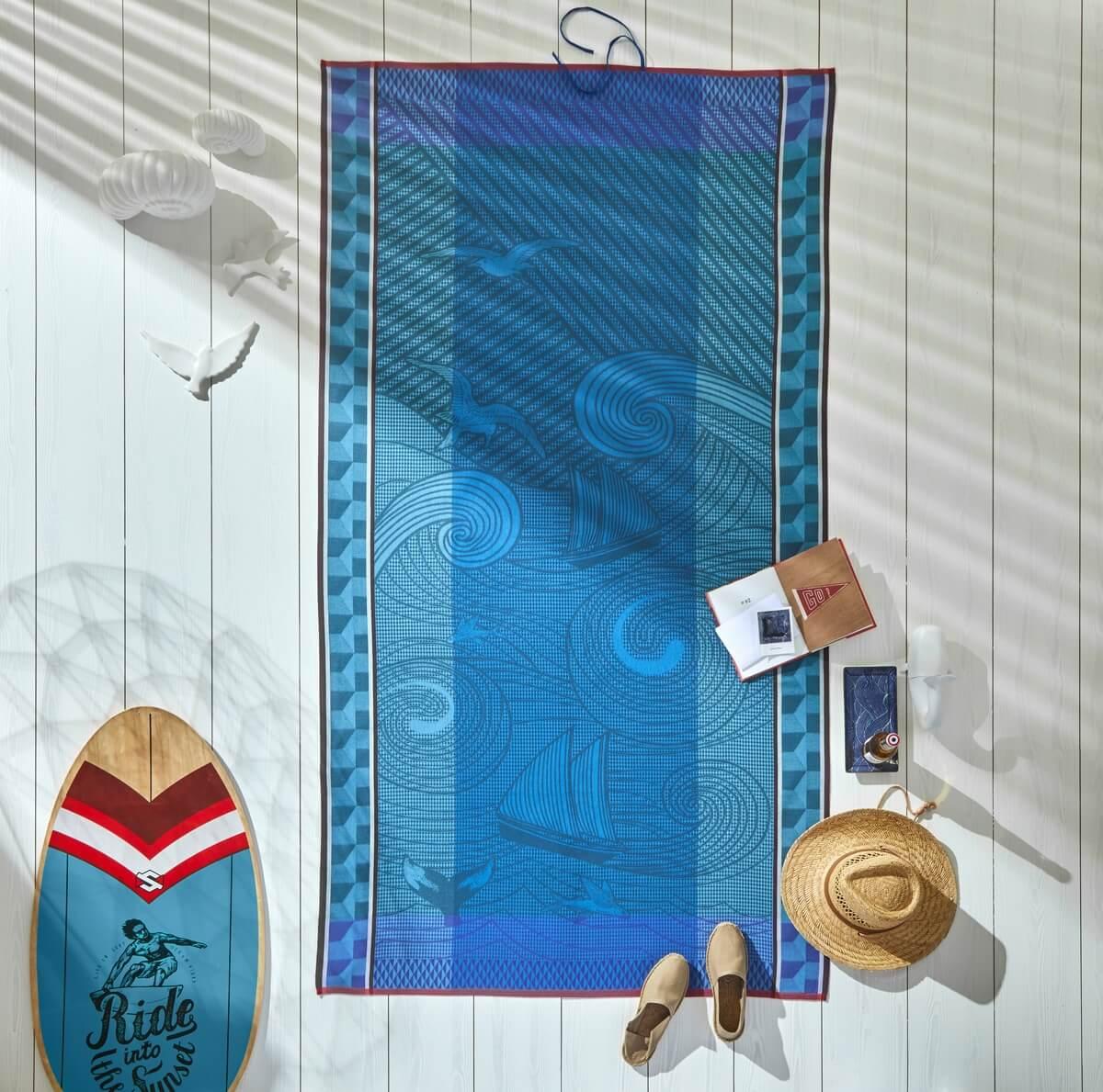 Drap de plage en coton recif 100 x 200