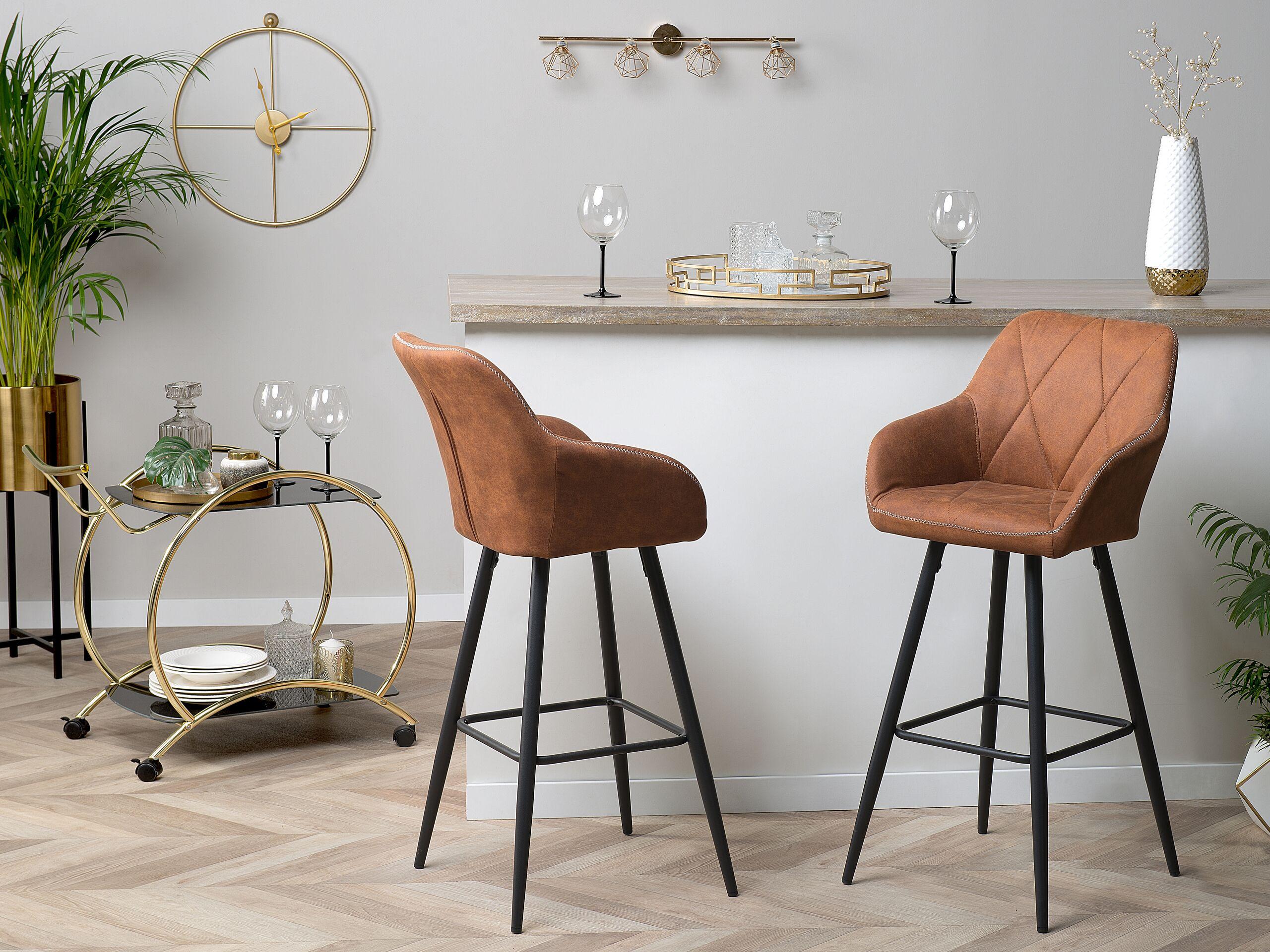 Lot de 2 chaises de bar marron