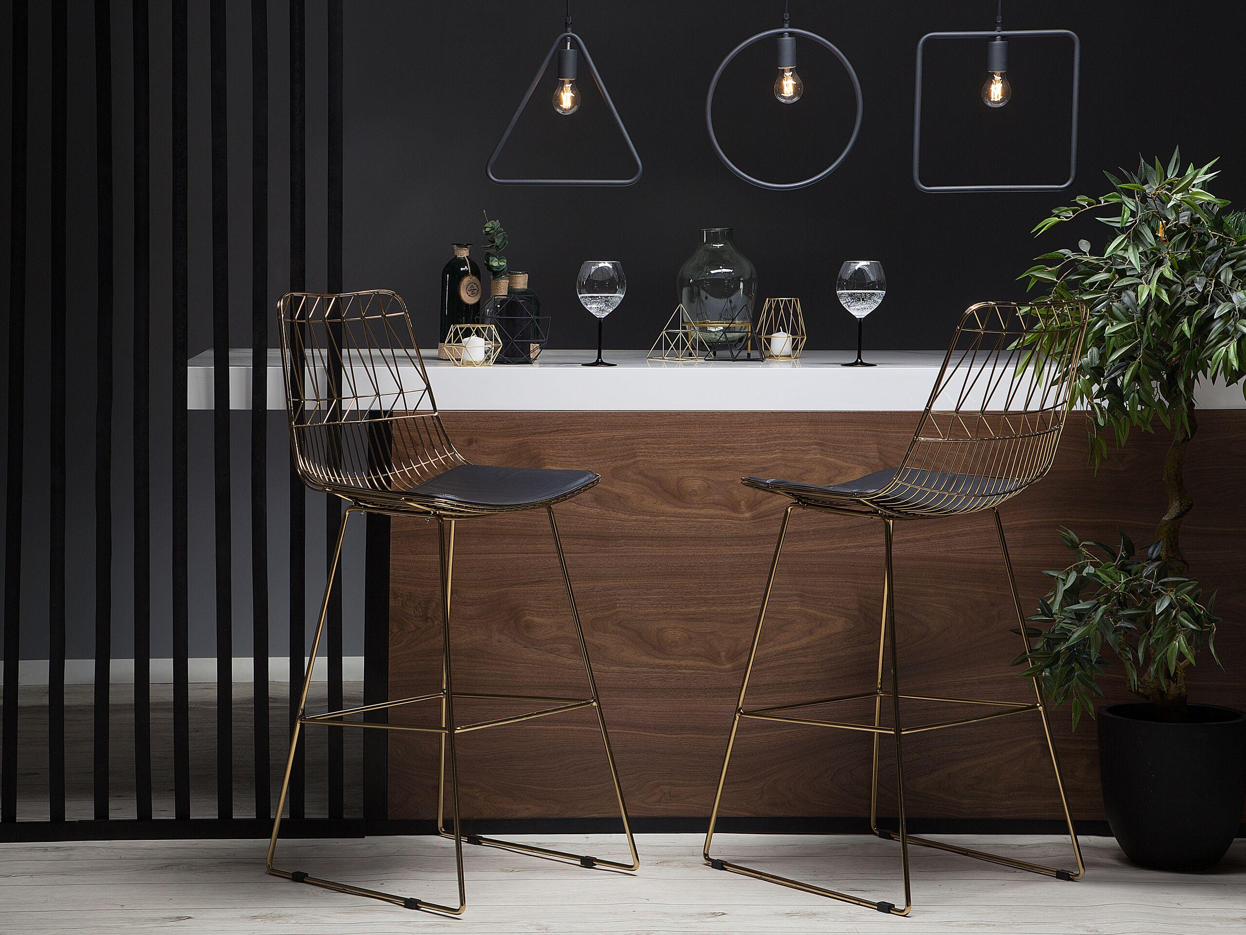 Chaise de bar dorée