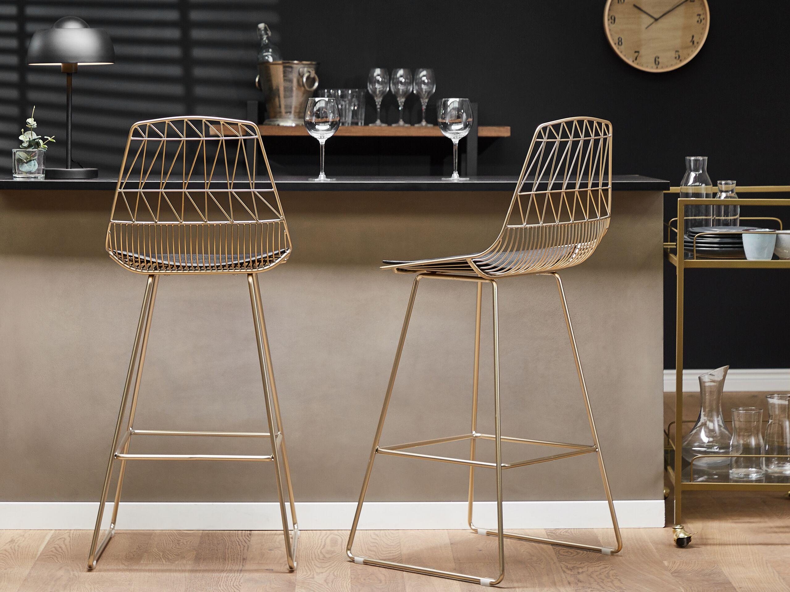 Lot de 2 chaises de bar dorées