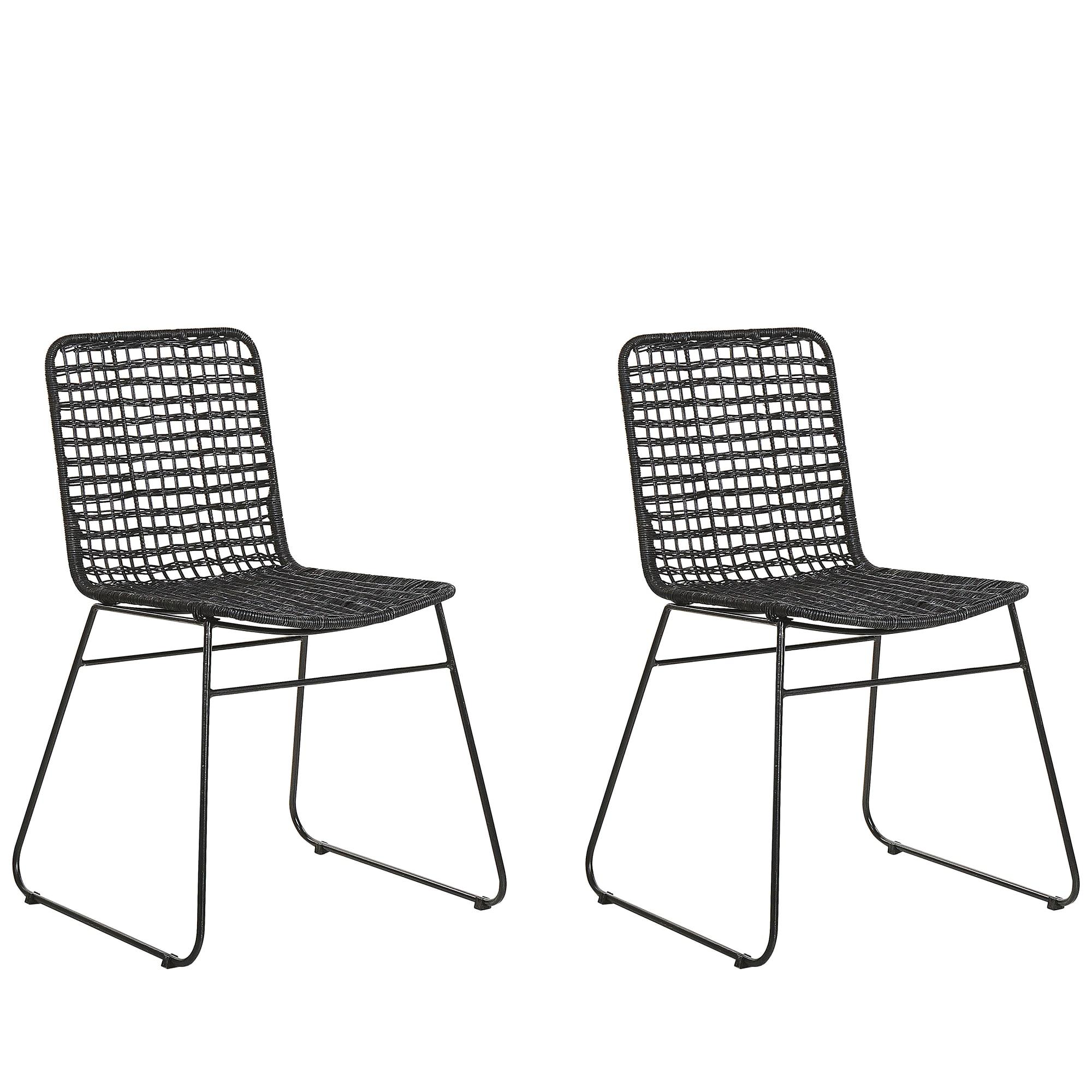 Lot de 2 chaises en rotin noir