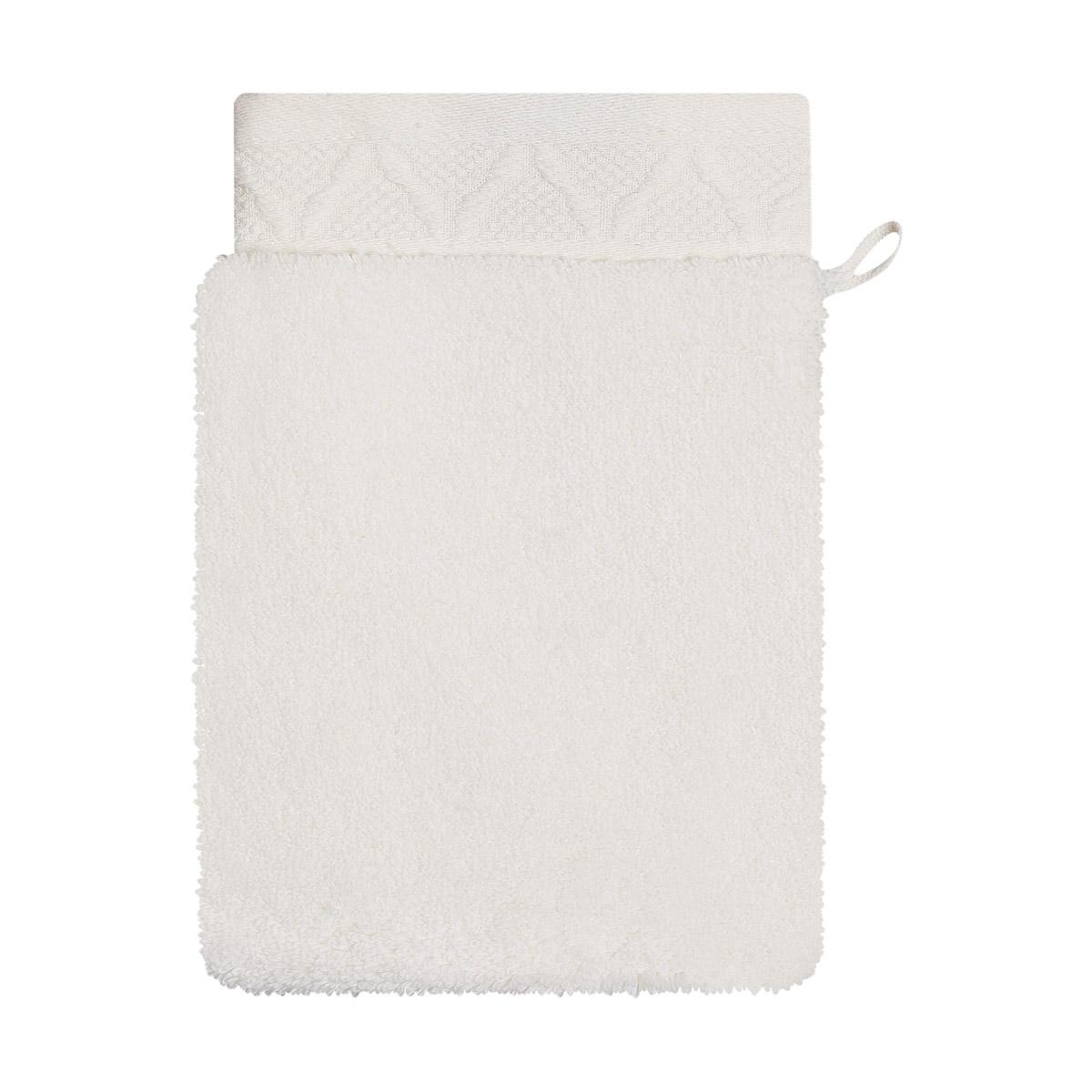 Gant de toilette en coton ivoire 15 x 22