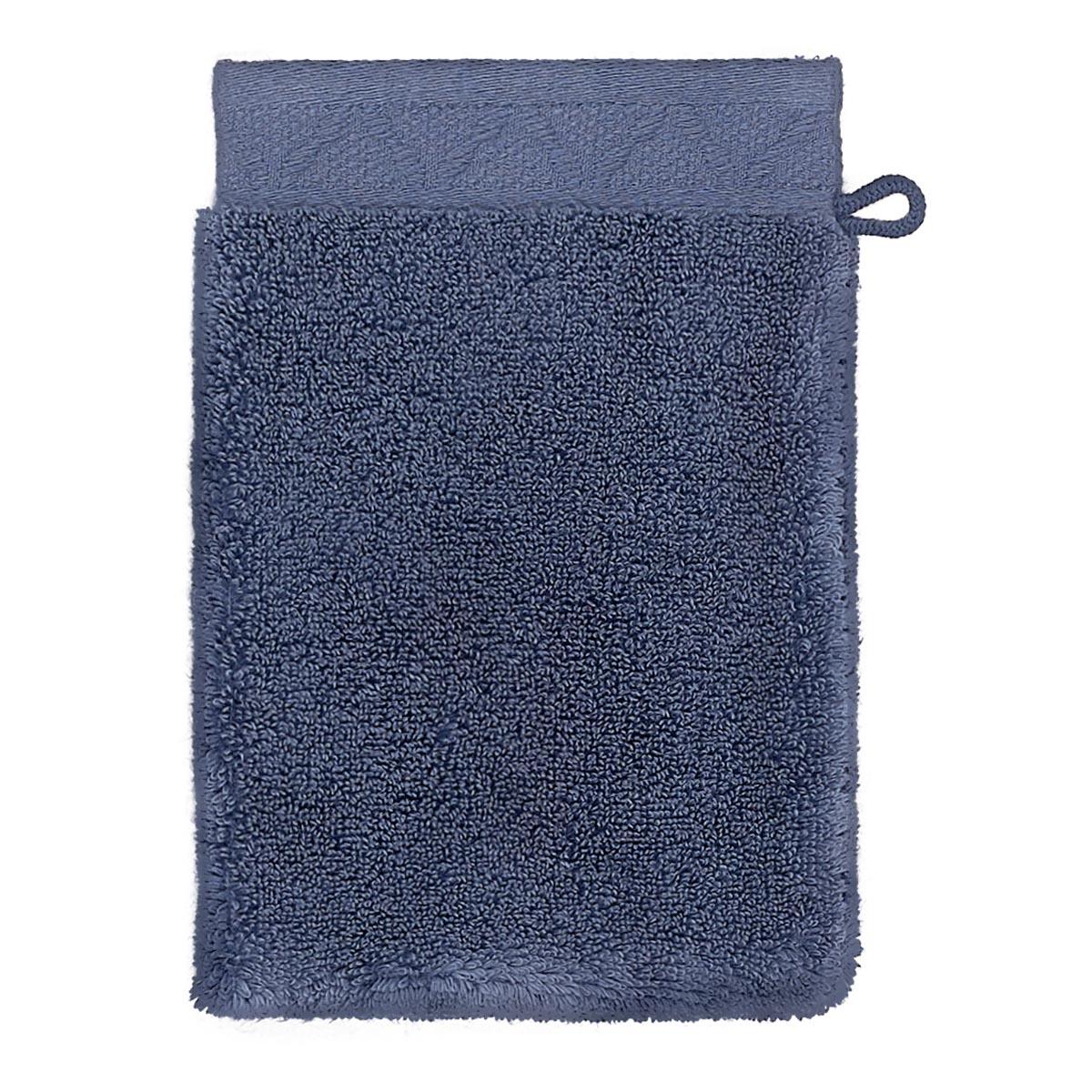 Gant de toilette en coton bleu orient 15 x 22