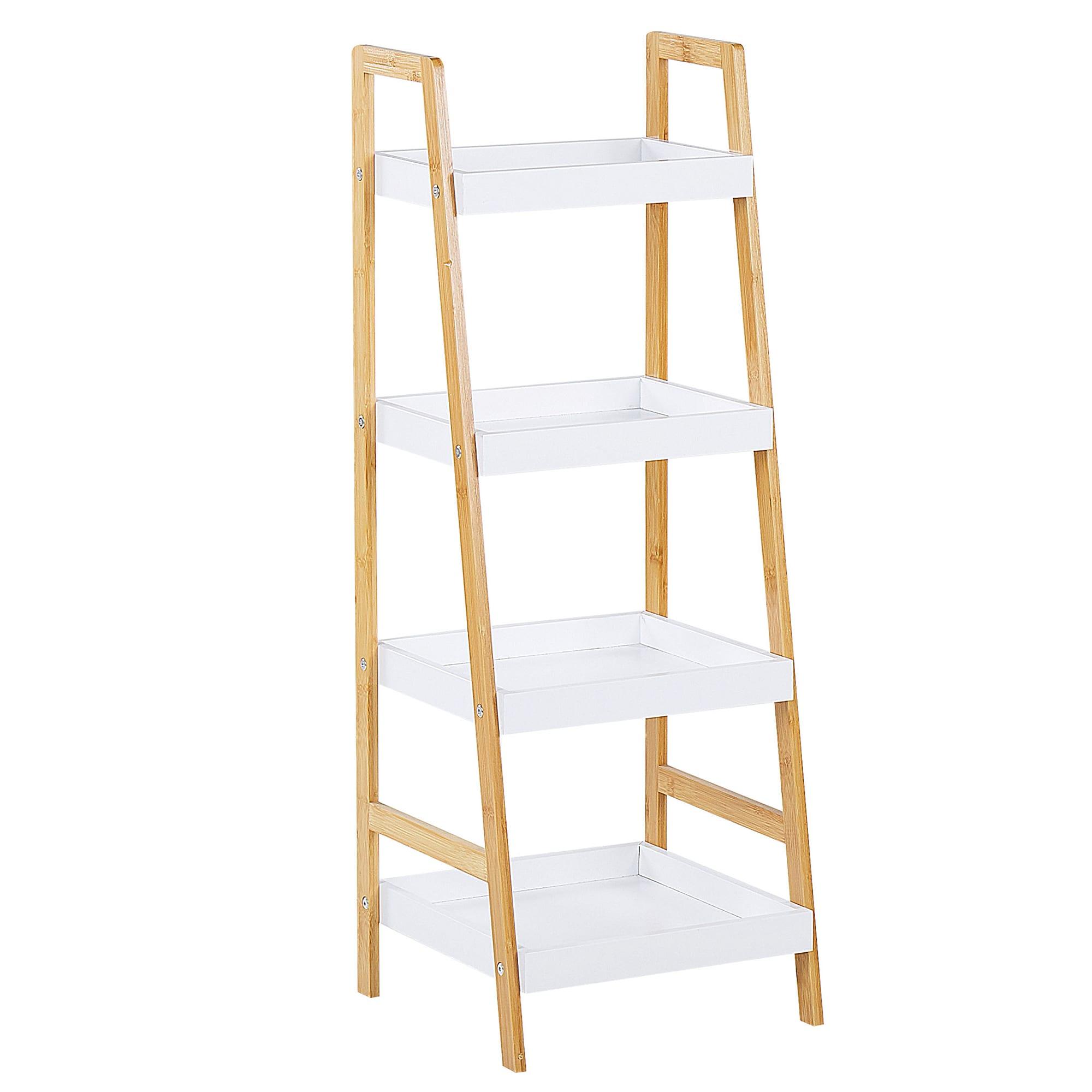 Étagère bois clair / blanc 4 niveaux (photo)