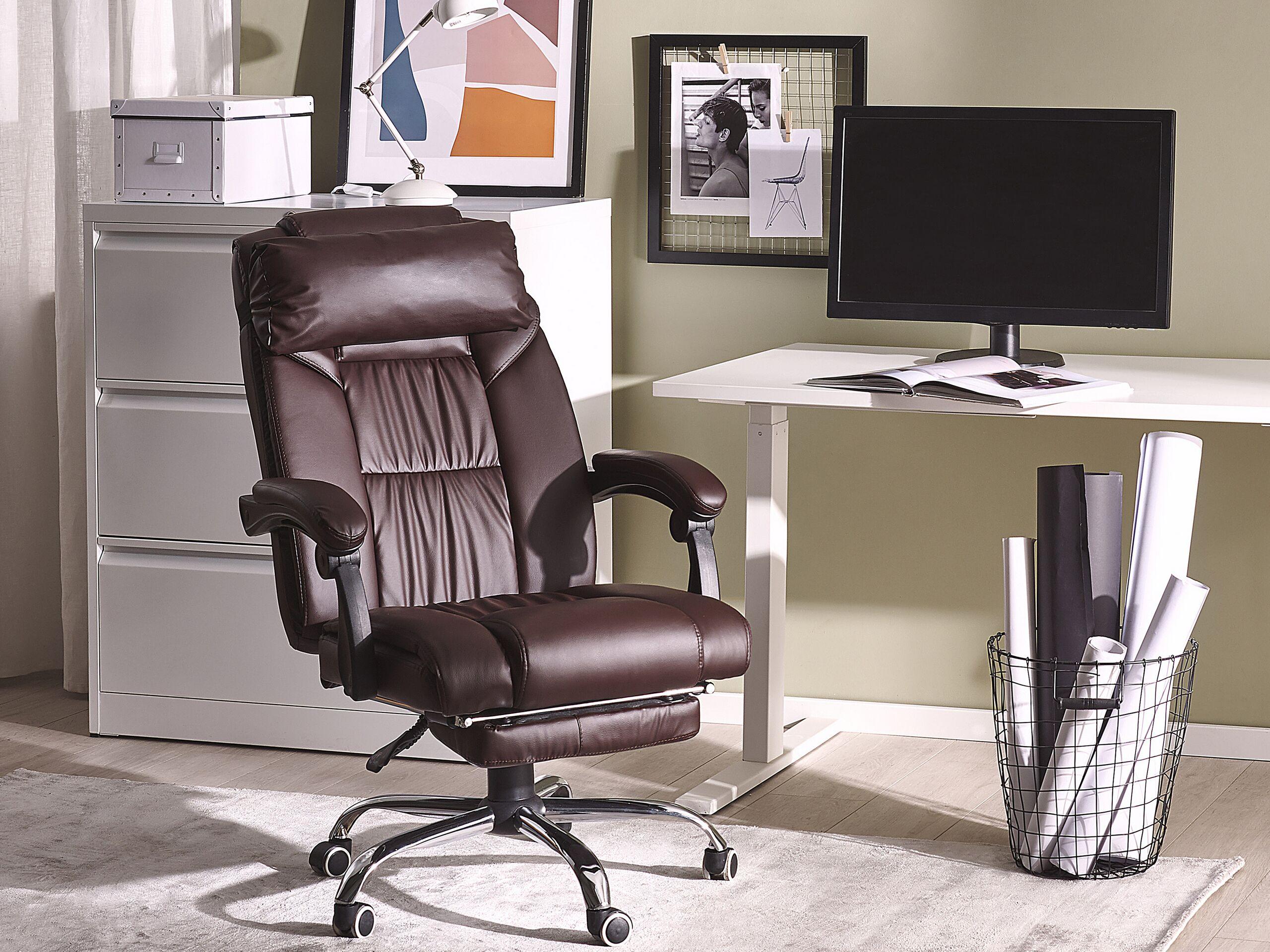 Chaise de bureau en simili-cuir marron
