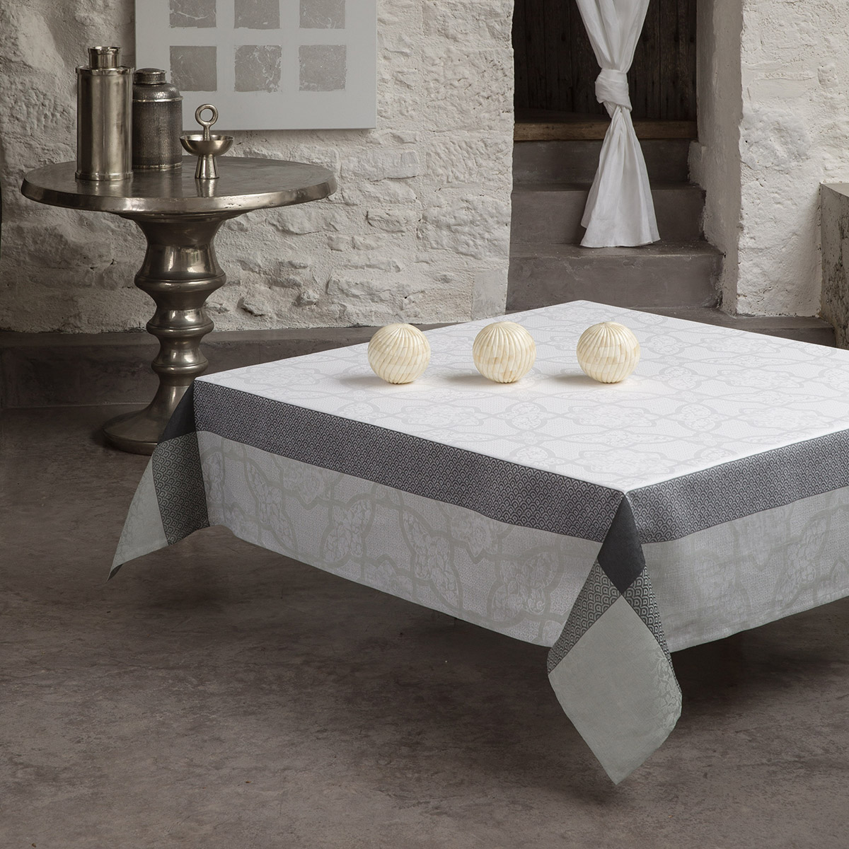 Nappe en lin marbre 175 x 175