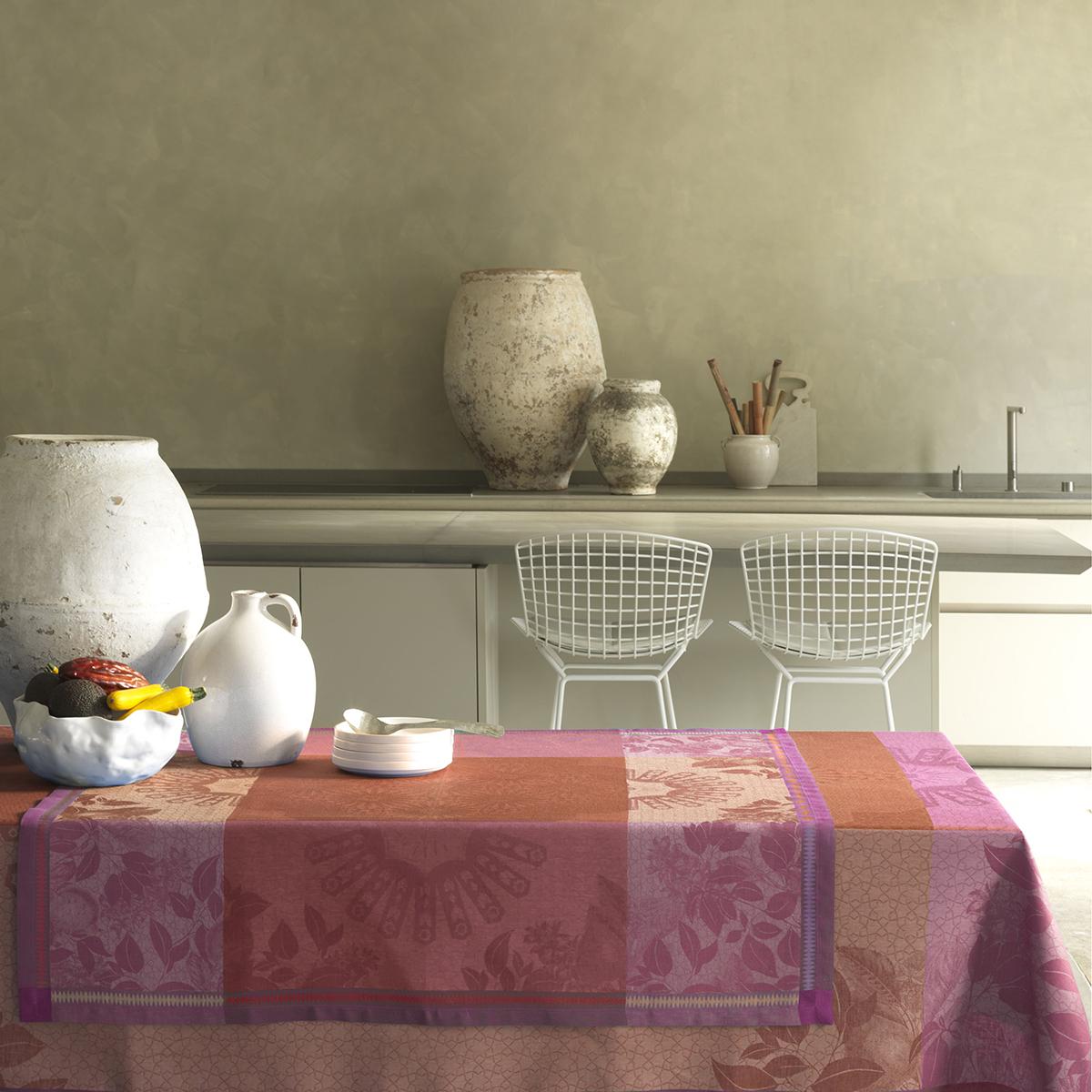 Nappe en lin terracotta 120 x 120