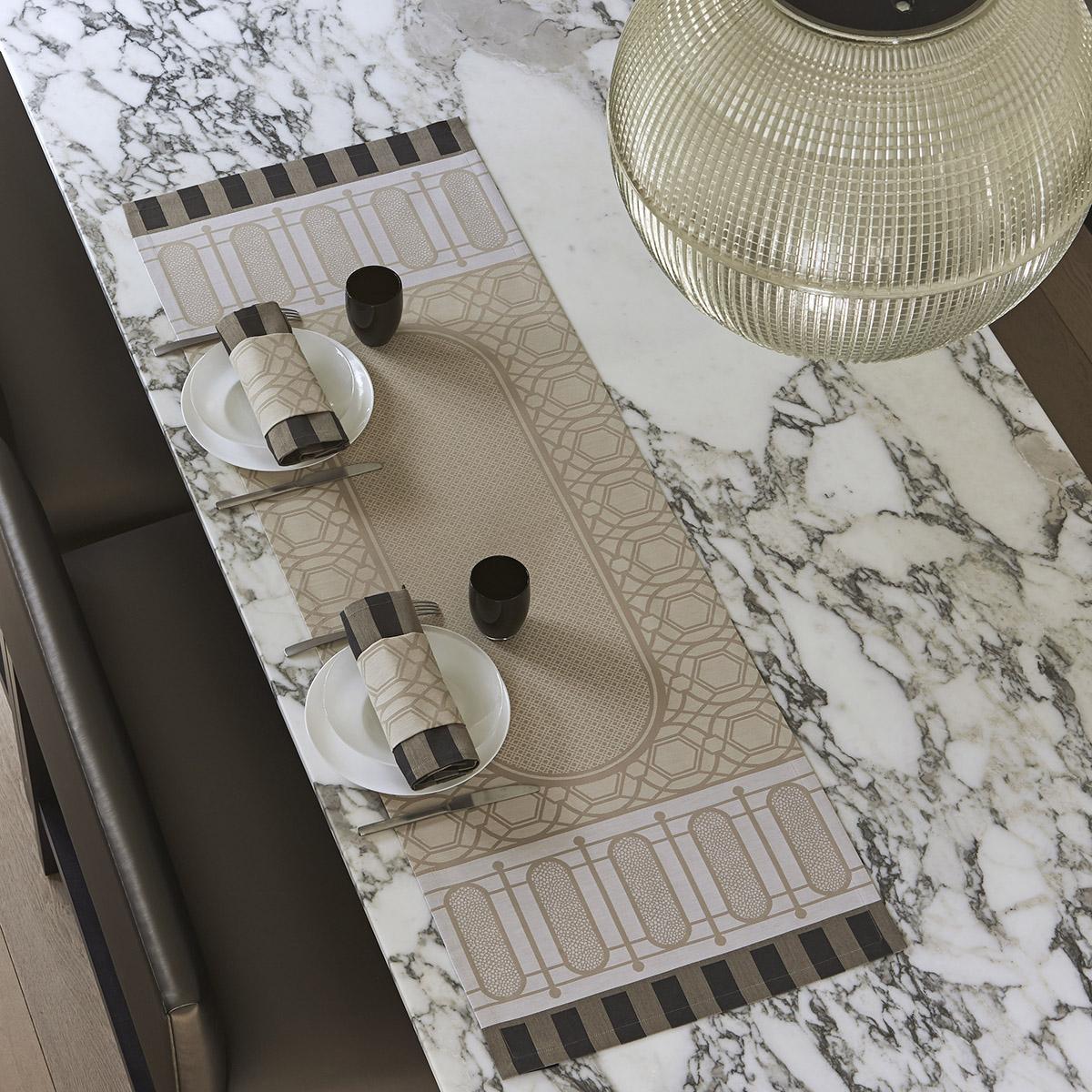 Chemin de table en coton pierre 50 x 150