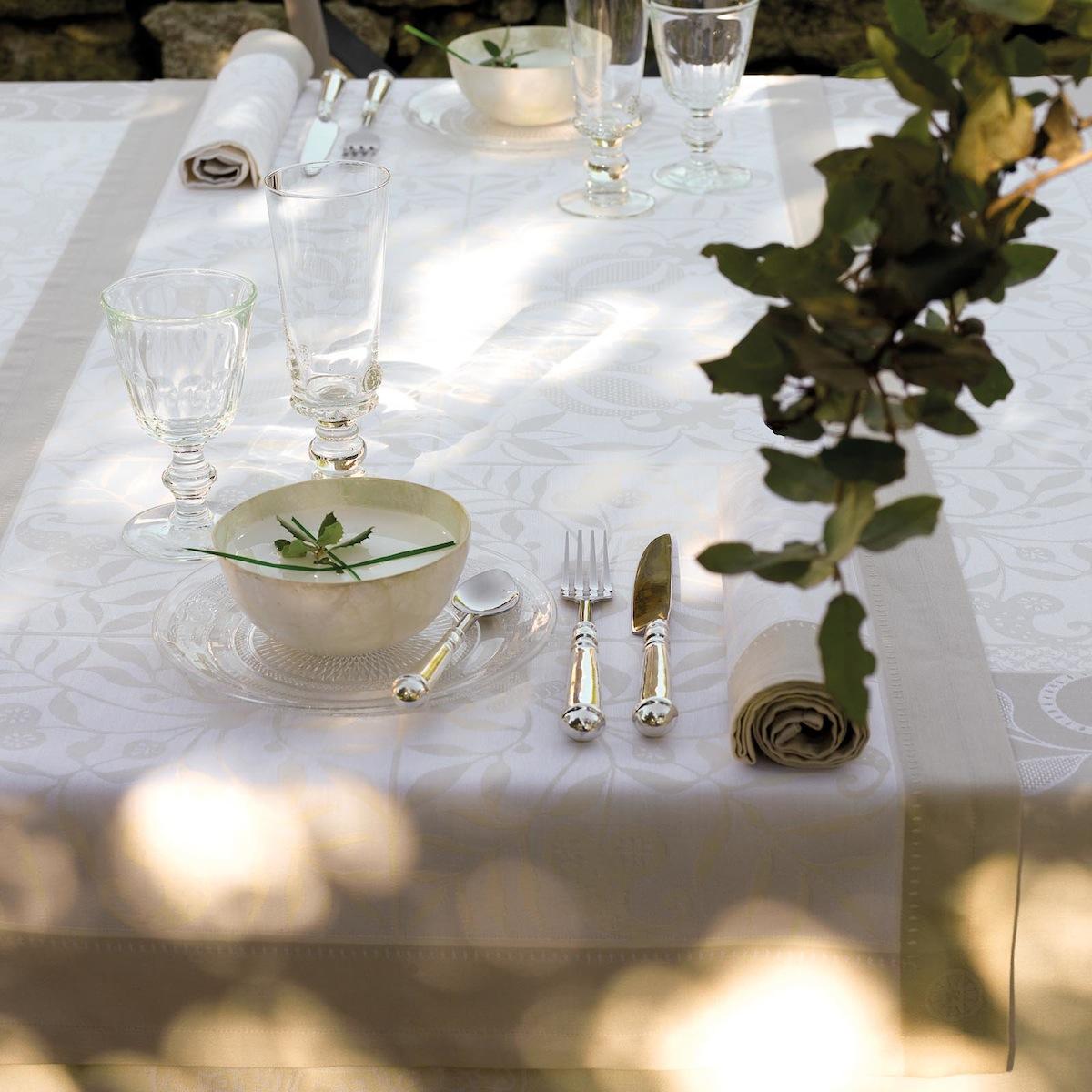 Chemin de table en coton ivoire 55 x 150