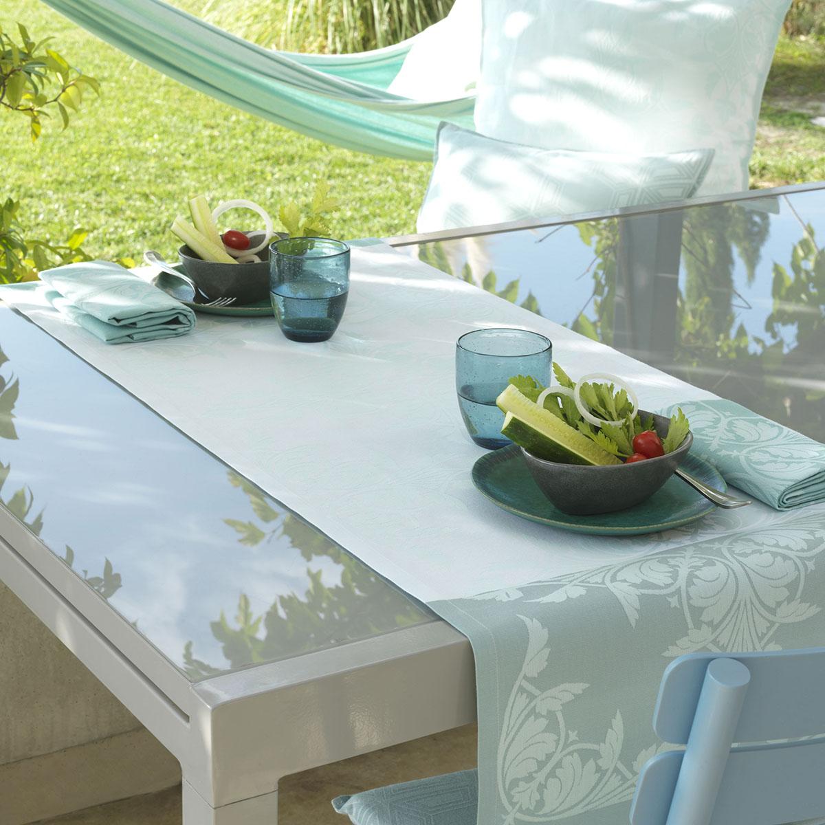 Chemin de table en coton aqua 50 x 150