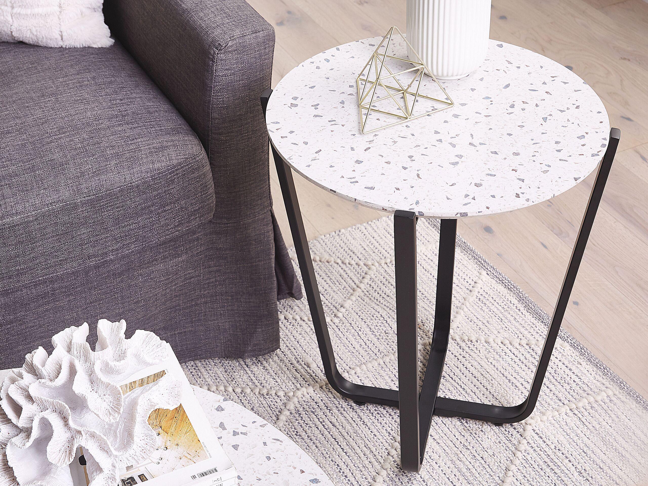 Table appoint ronde imitation granito terrazzo