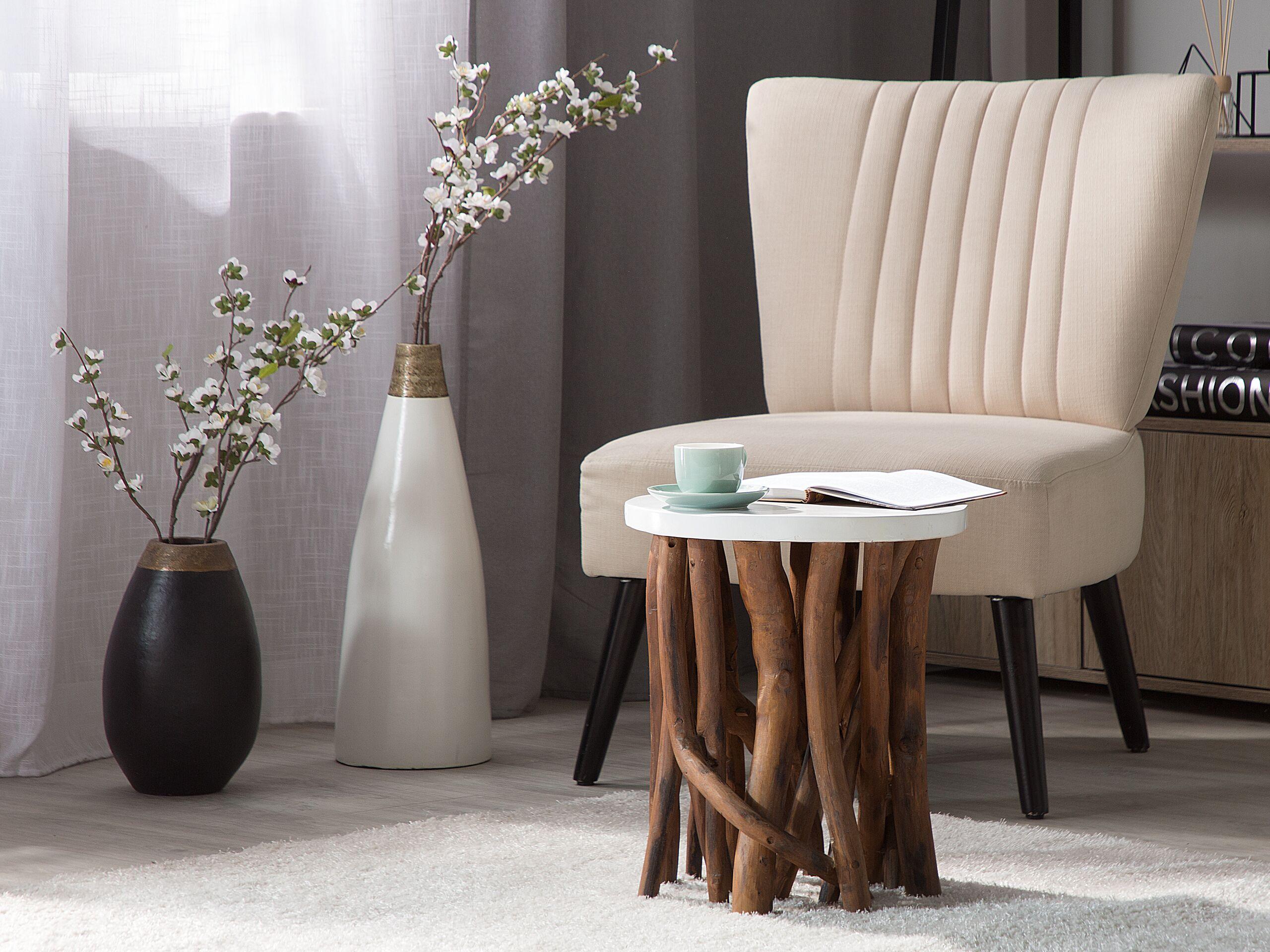Table basse en bois avec plateau blanc
