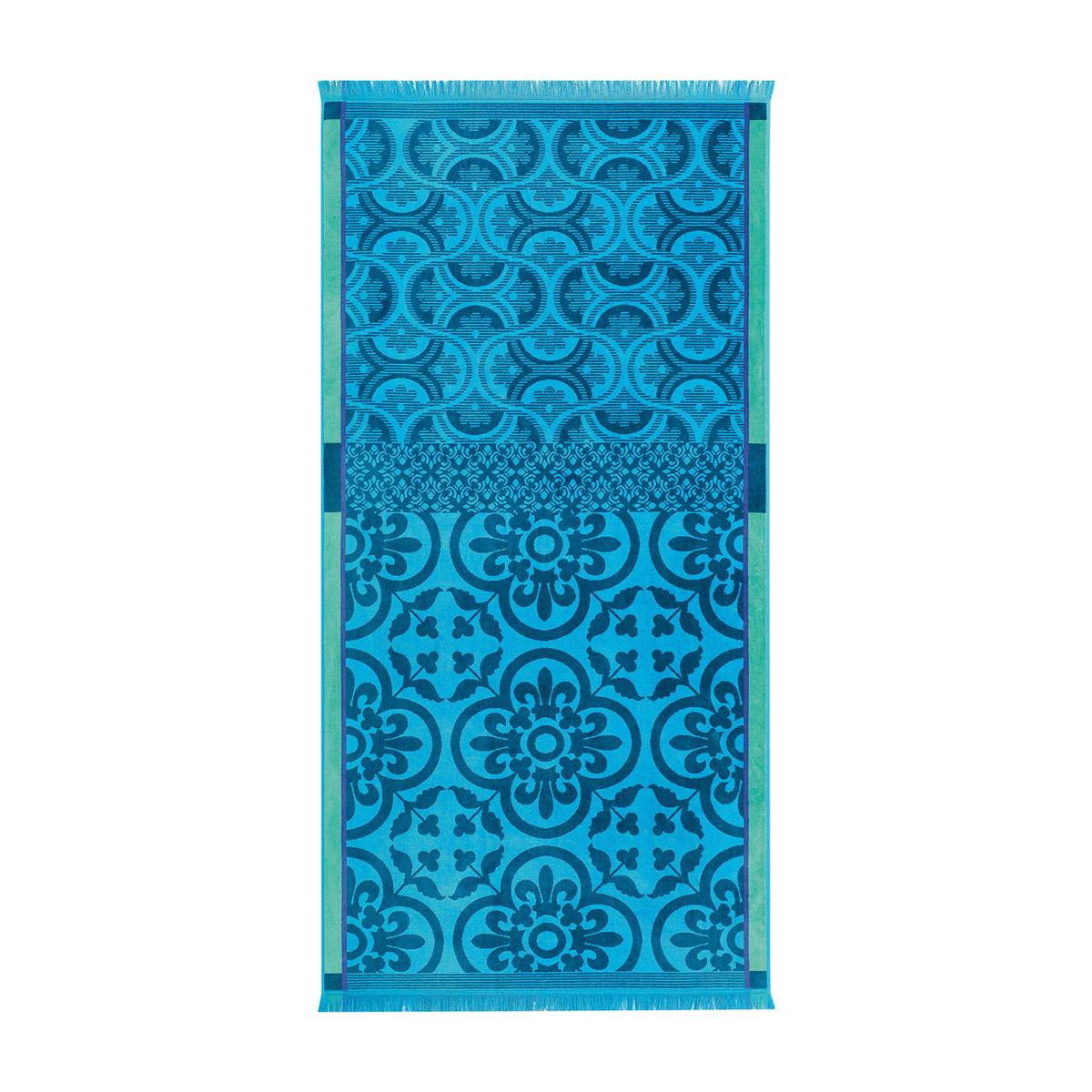 Drap de plage en coton turquoise 100 x 200