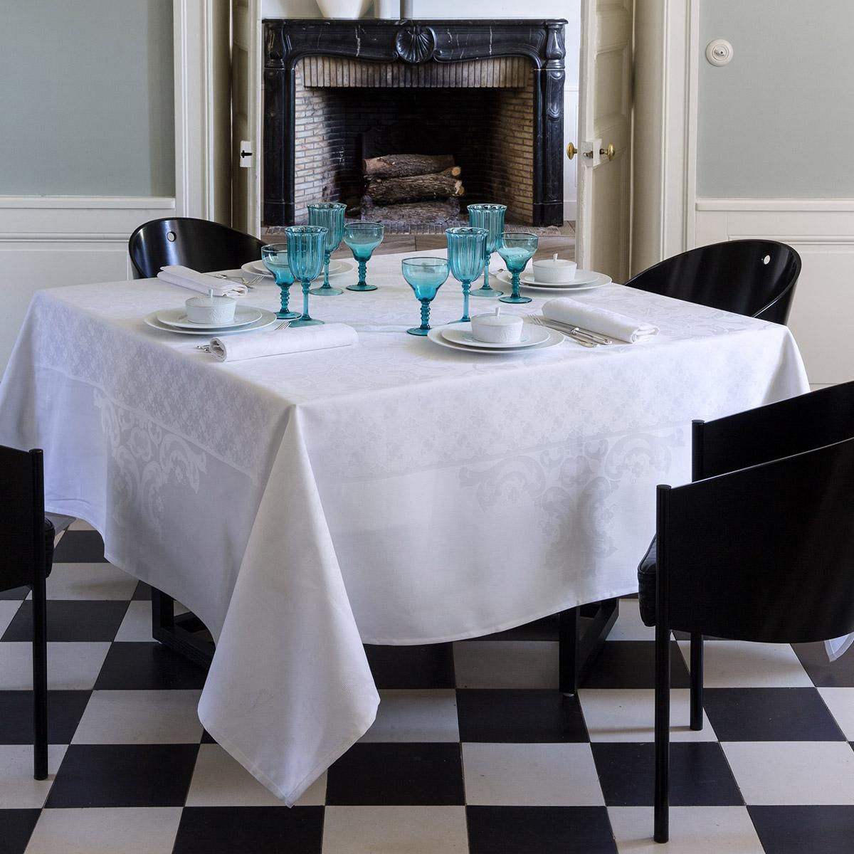Chemin de table en coton blanc 55 x 150