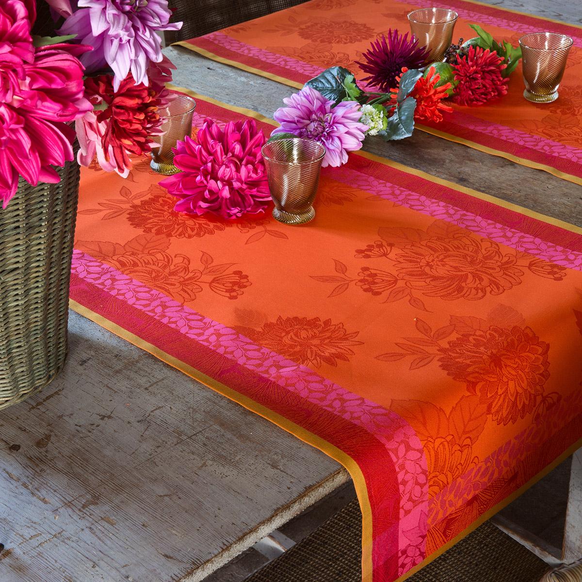 Chemin de table en coton capucine 55 x 200