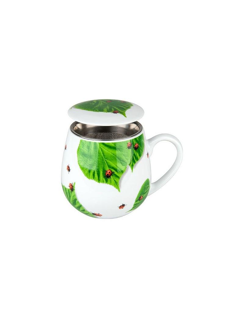 Mug snuggle avec filtre et couvercle coccinelle sur feuille 420ml