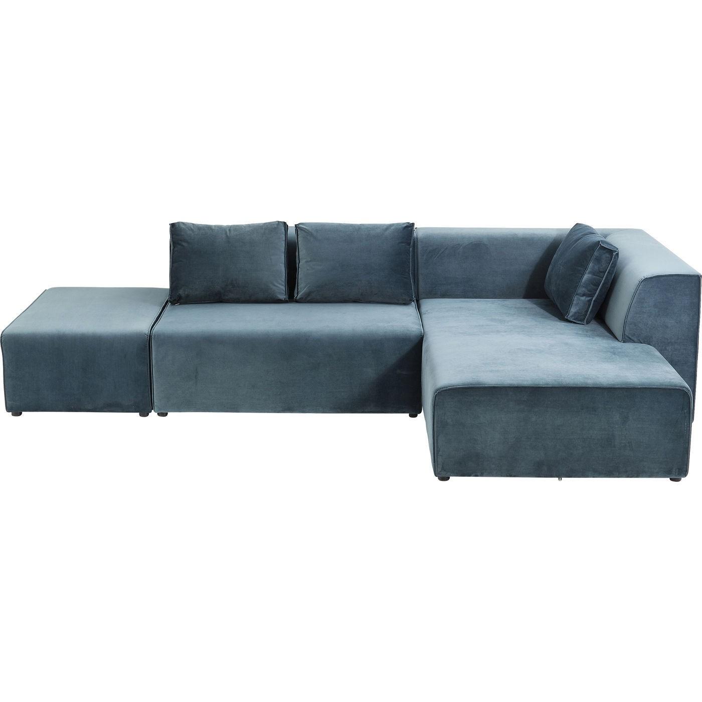Canapé d'angle 4 places Bleu Tissu Confort