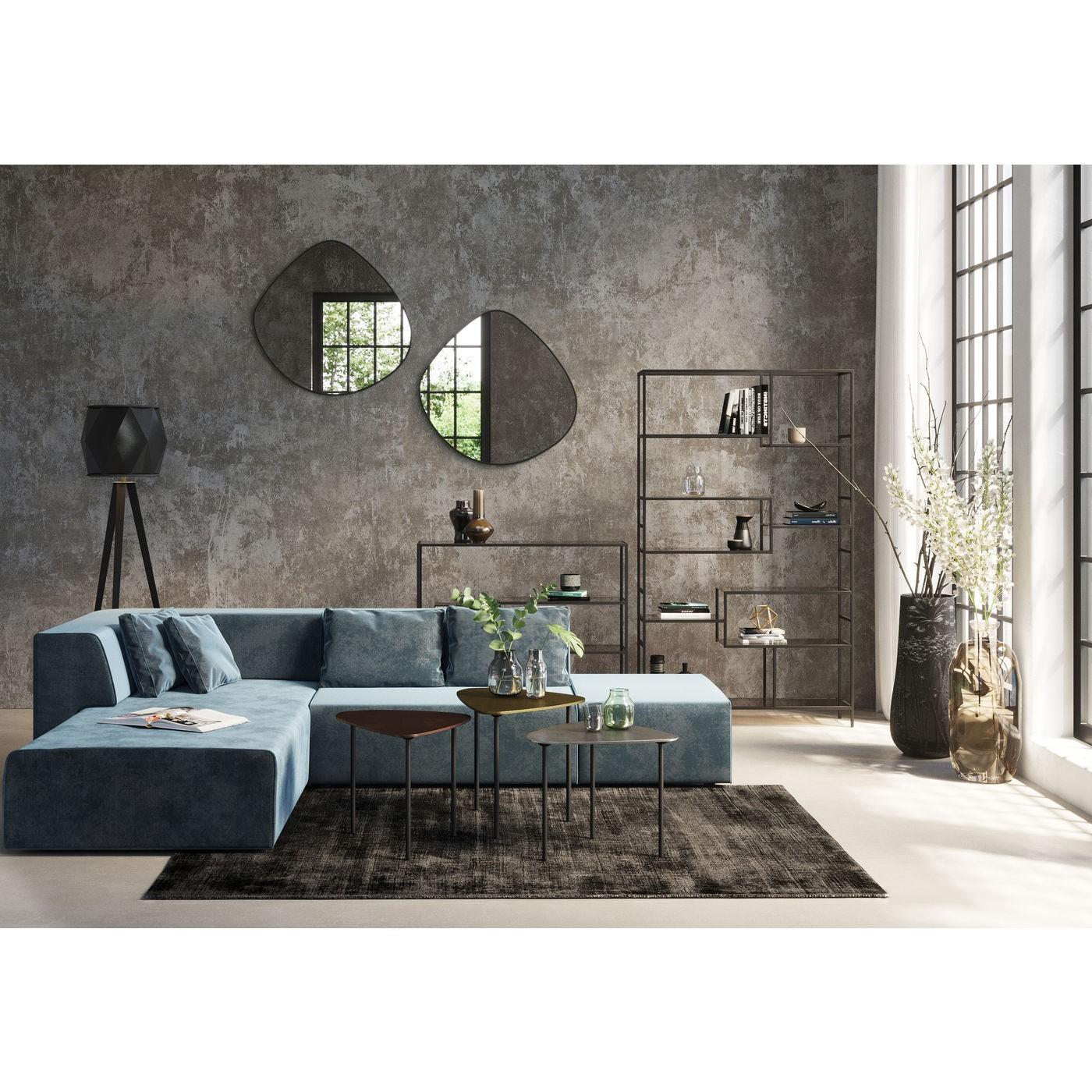 Canapé d'angle gauche 4 places en velours bleu océan