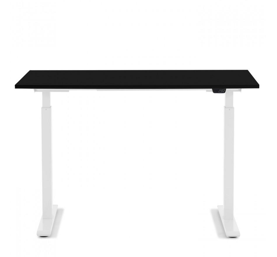 Bureau réglable assis-debout noir et acier blanc L140