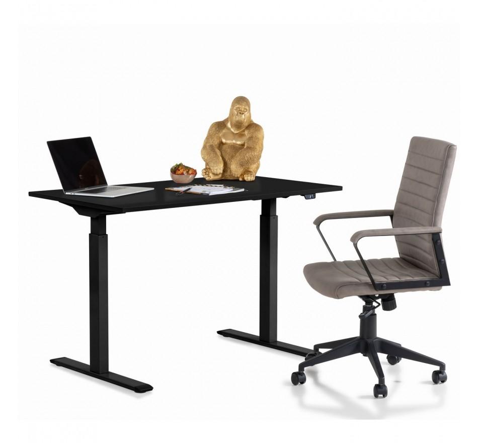 Bureau réglable assis-debout noir et acier noir L140