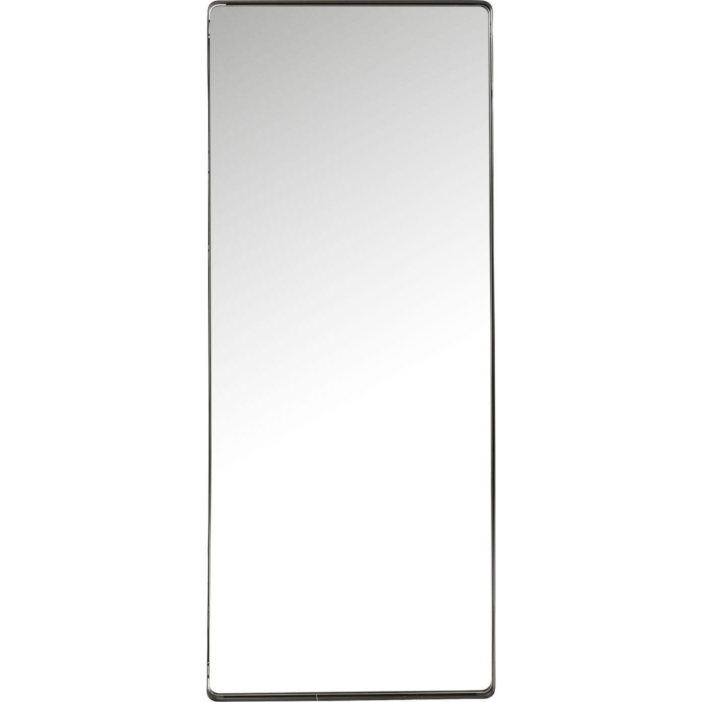 Miroir bords arrondis en métal noir 200x80