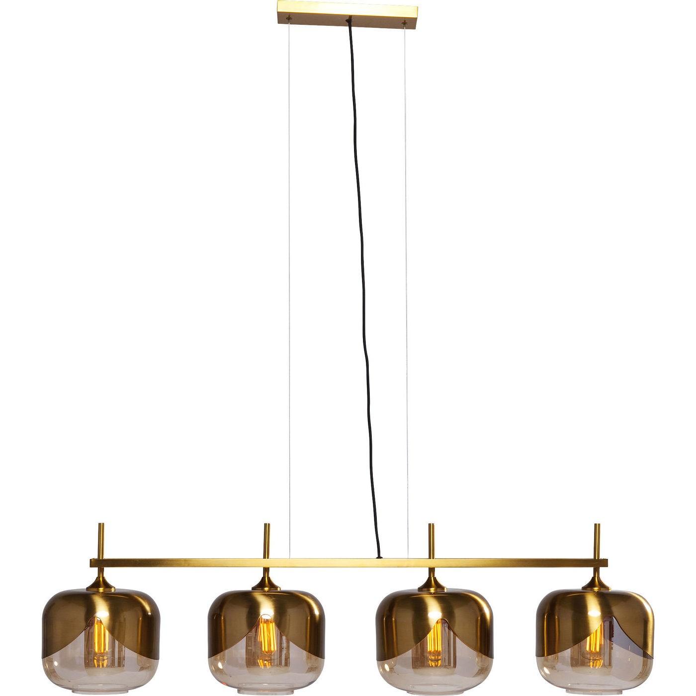 Suspension 4 abat-jours en acier doré et verre
