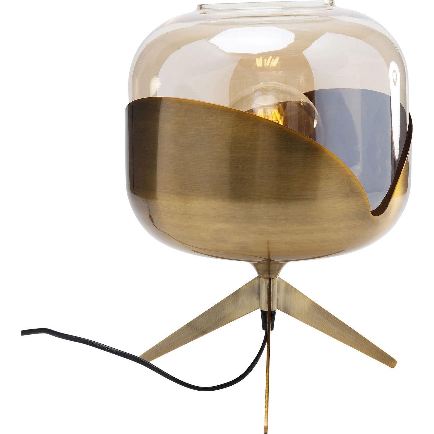 Lampe en acier doré et abat-jour en verre