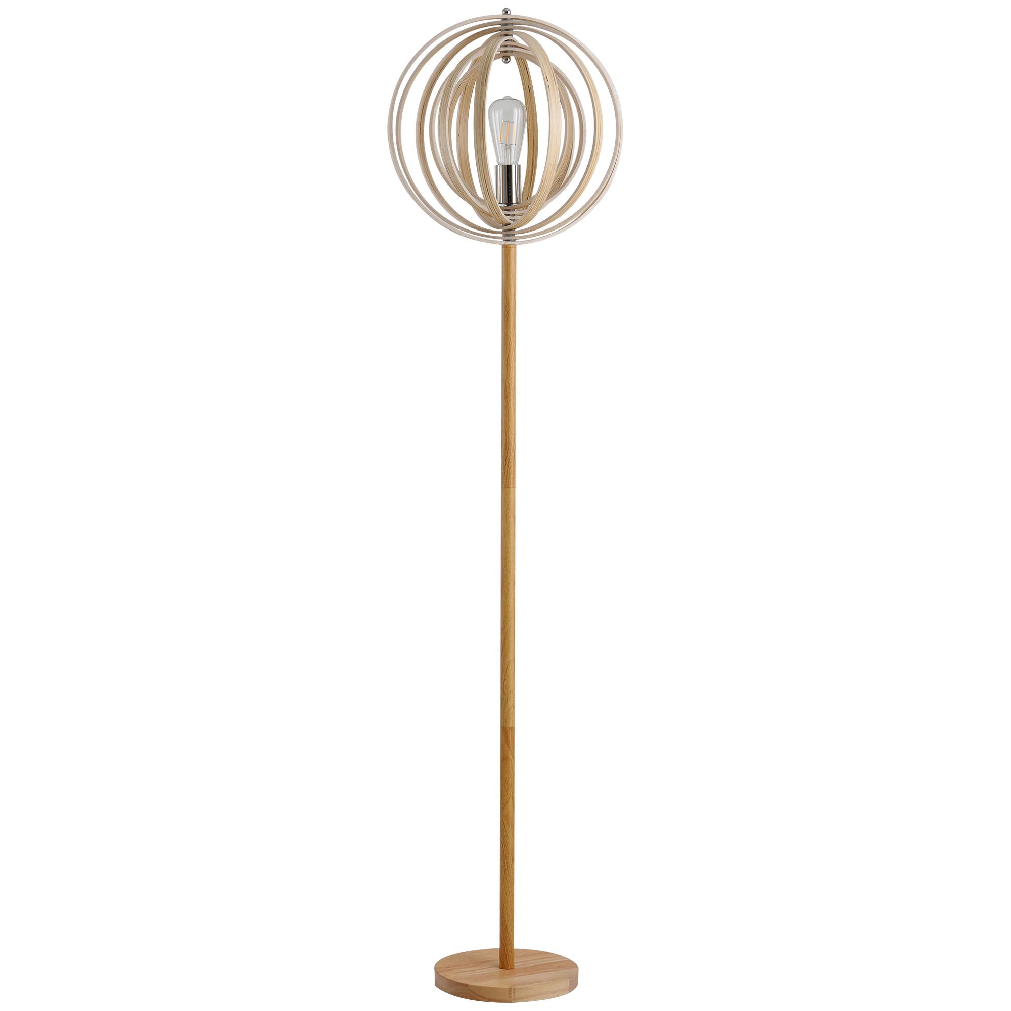 Lampadaire sur pied circulaire bois naturel clair H160 cm