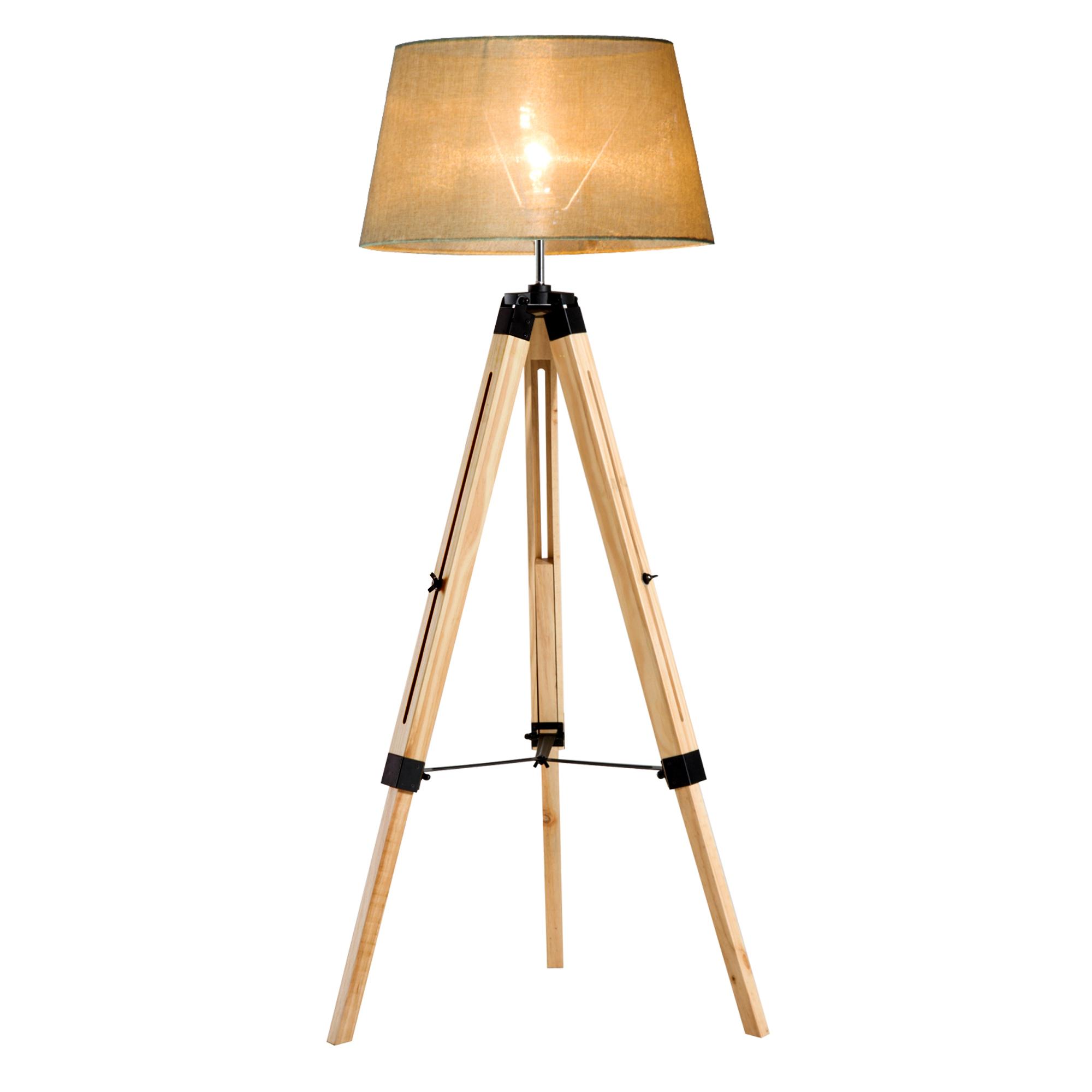 Lampadaire trépied en bois hauteur réglable 99-143 cm beige