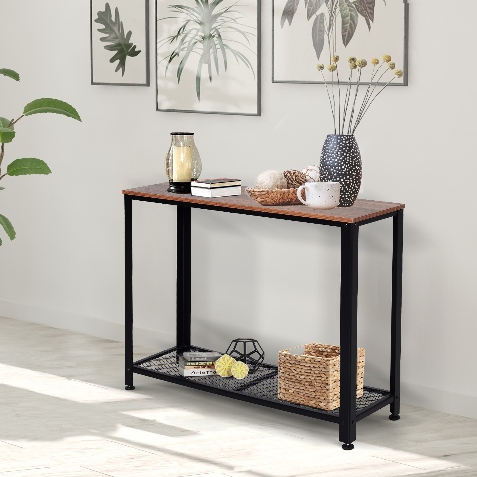 Table console vintage industriel pieds réglables