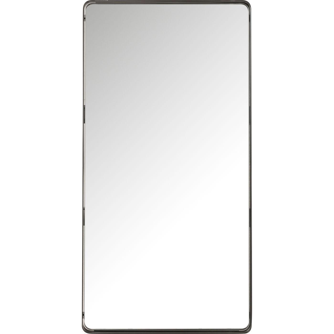 Miroir bords arrondis en métal noir 120x60