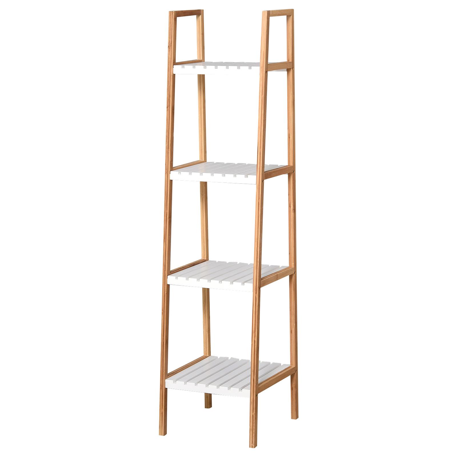 Etagère salle de bain bambou 4 niveaux bois pin blanc