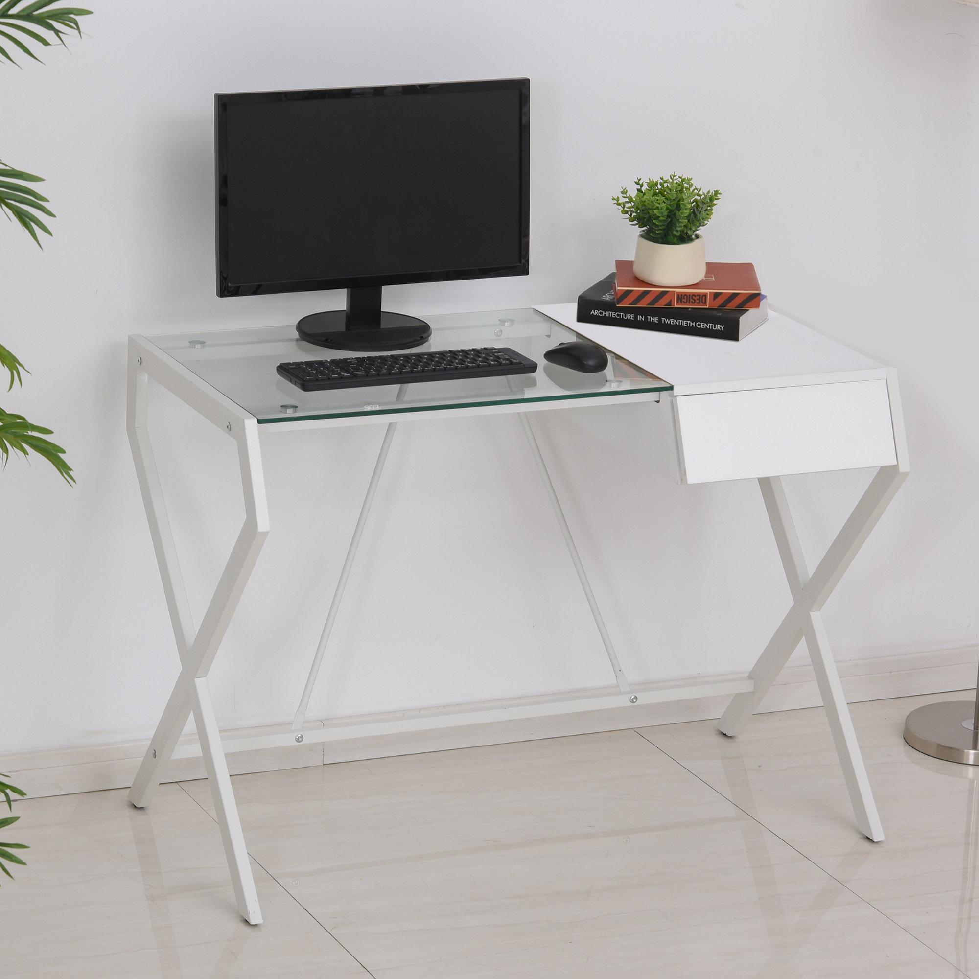 Bureau informatique blanc bois de chêne verre