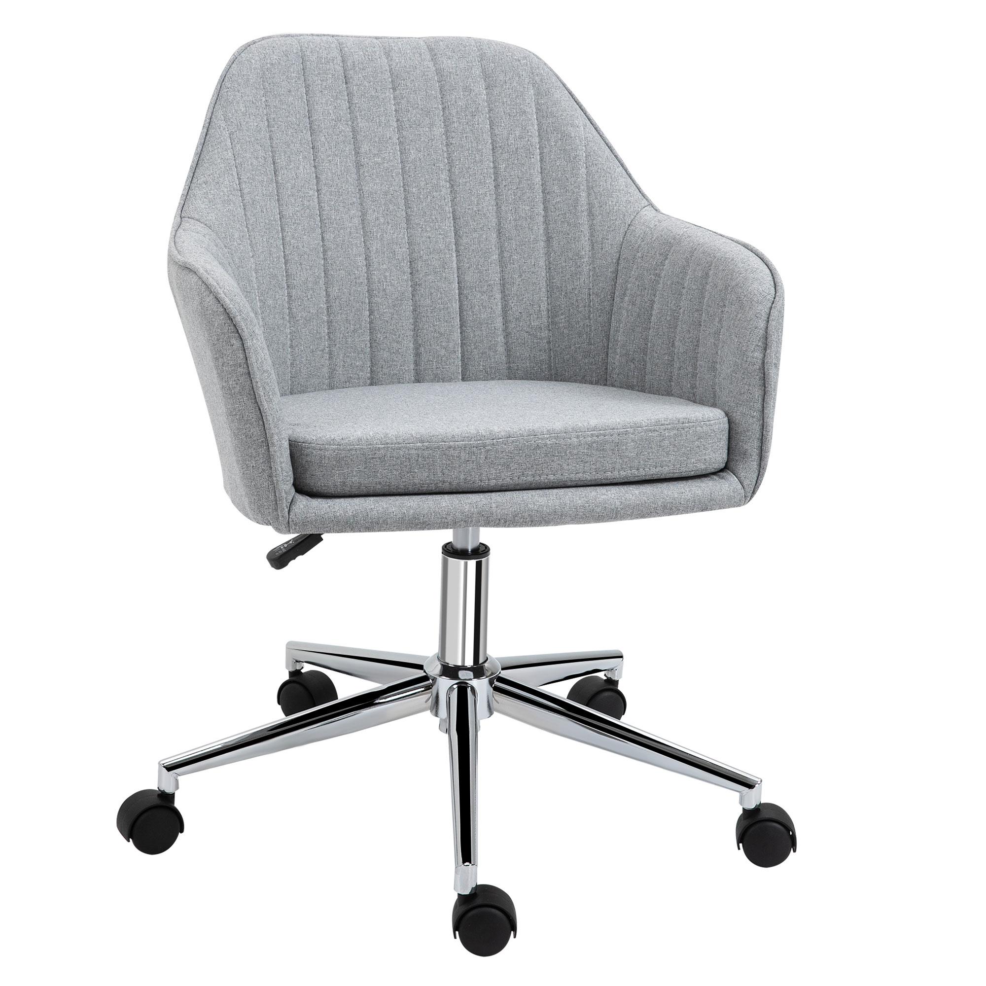 Chaise de bureau design contemporain piètement chromé lin gris