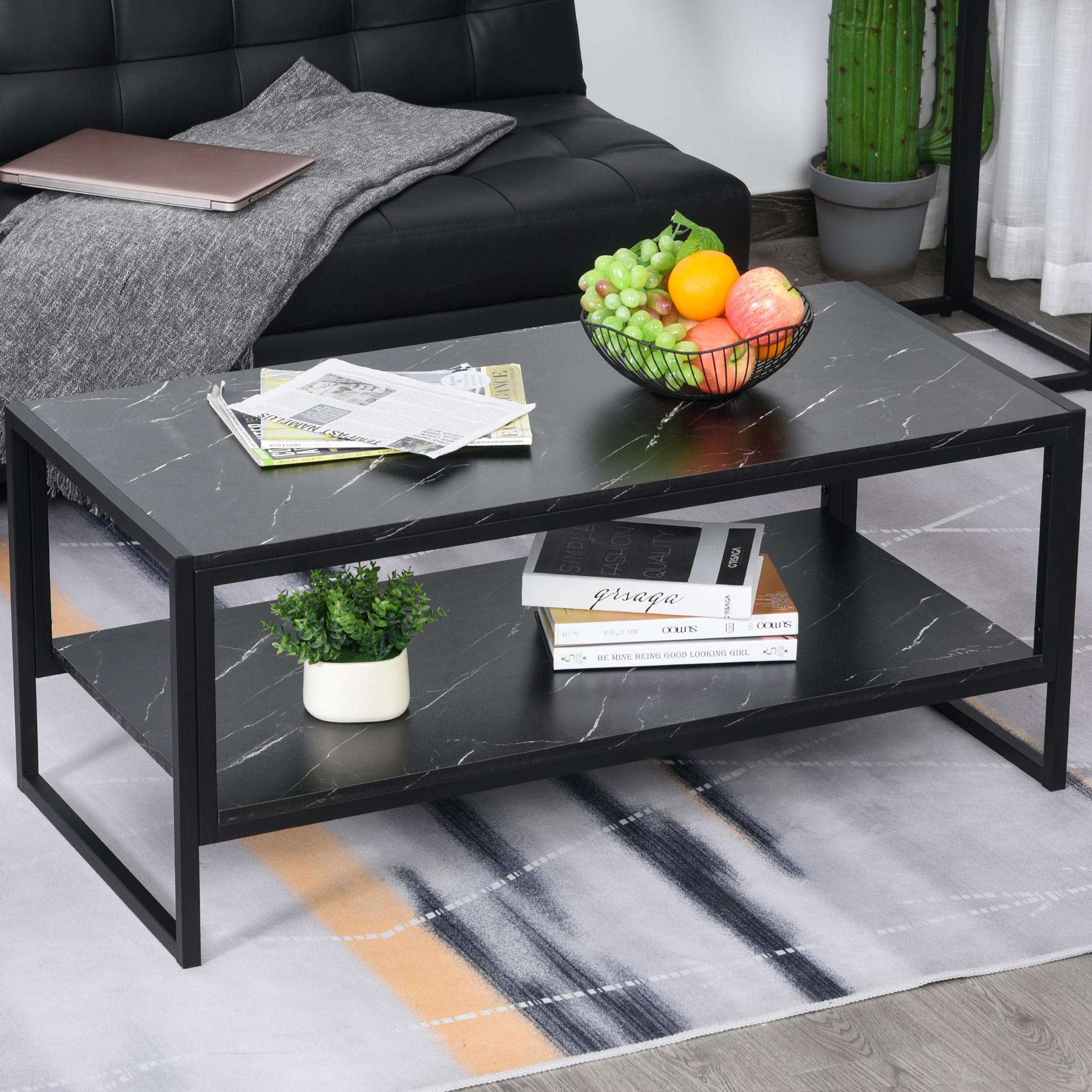 Table basse moderne avec plateau en marbre et base en métal