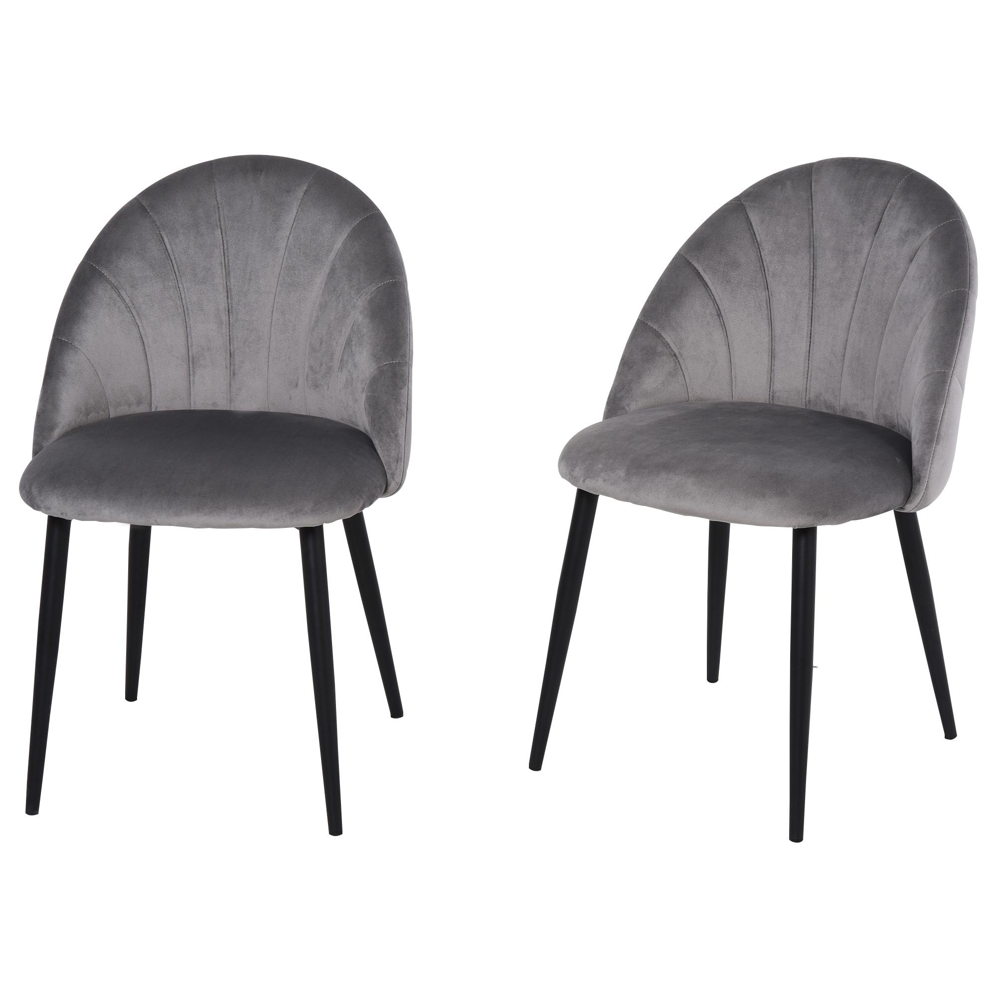 Lot de 2 chaises velours pieds métal