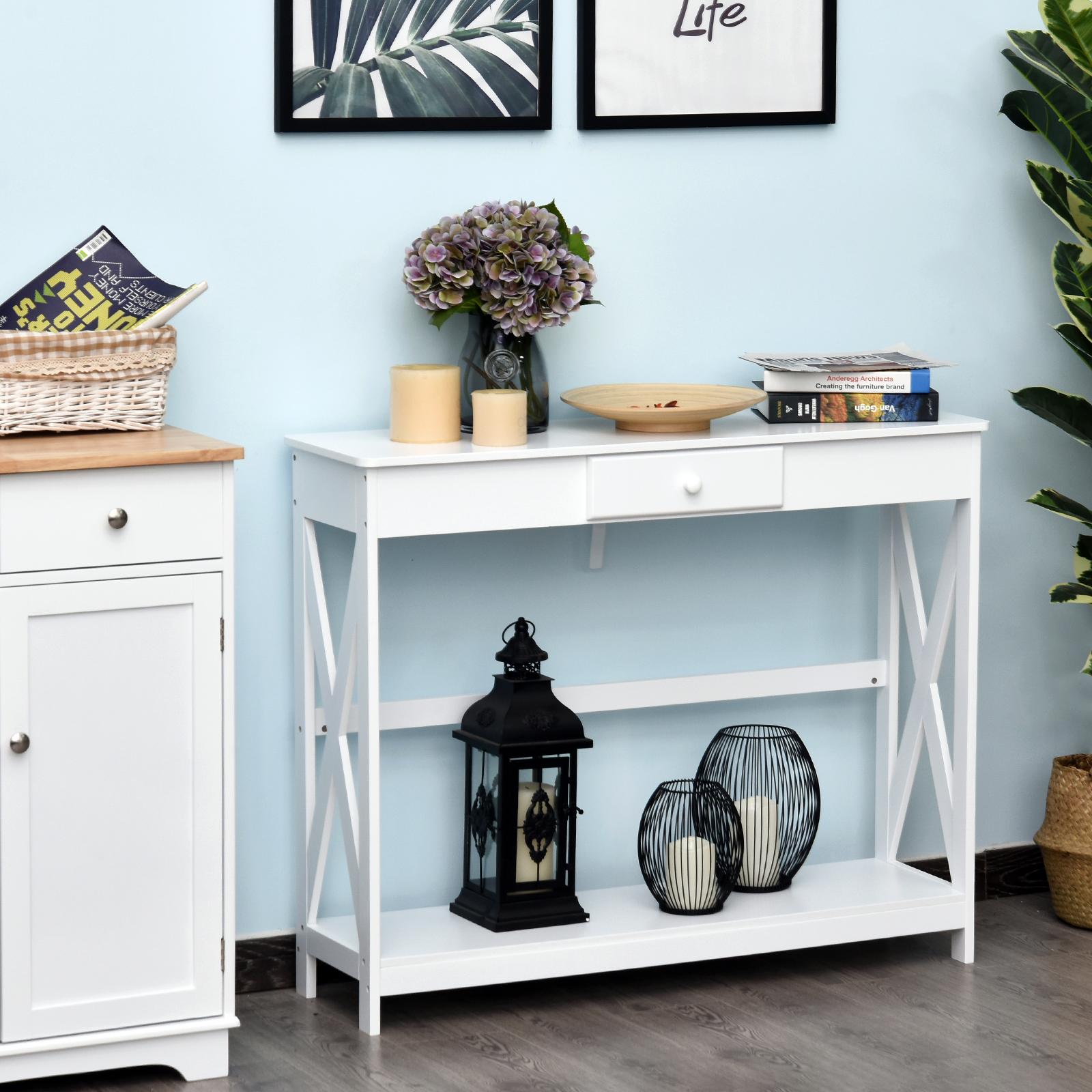 Console néo-rétro tiroir avec étagère blanc