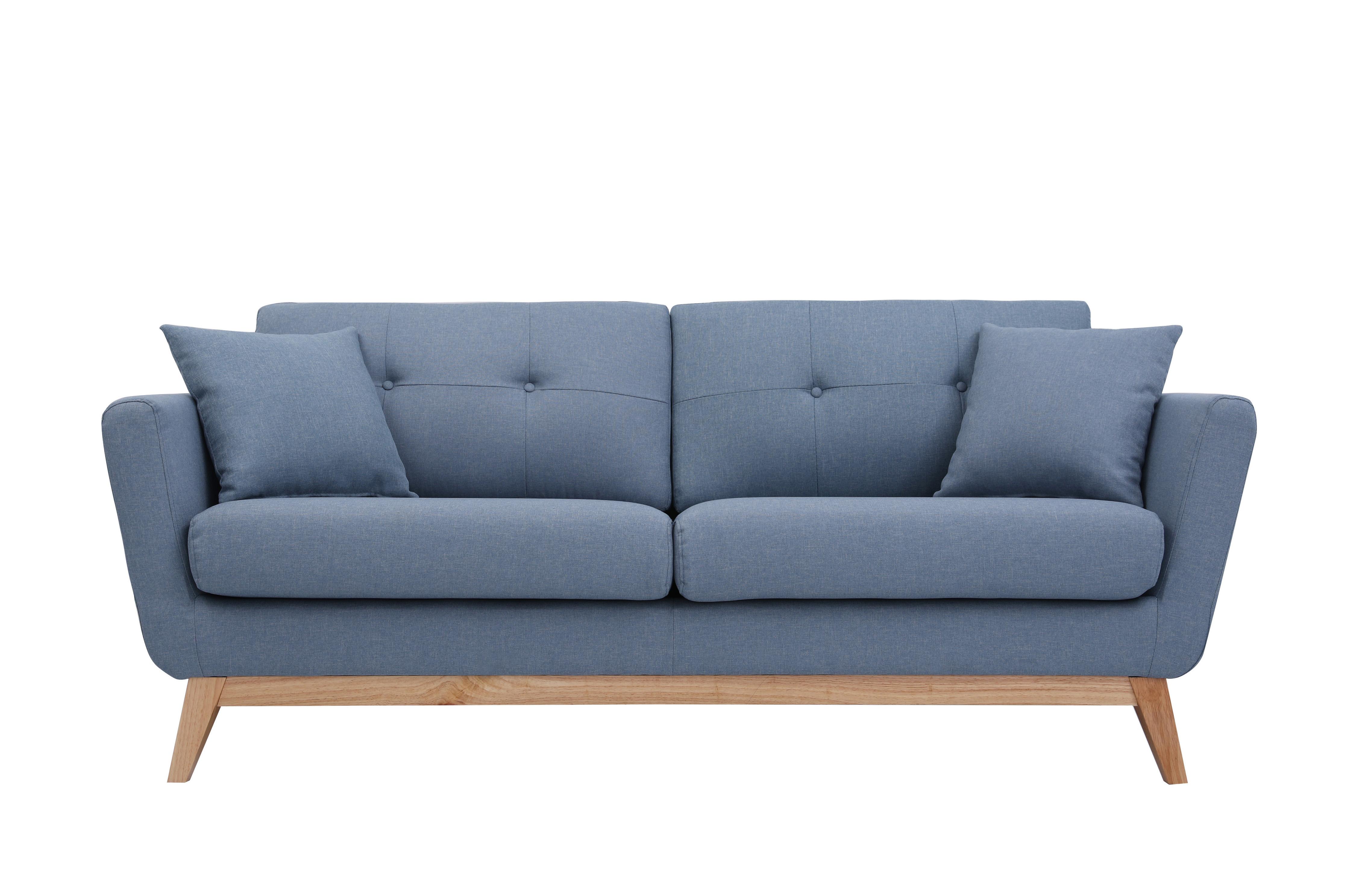 Canapé droit 3 places Bleu Tissu Scandinave Confort