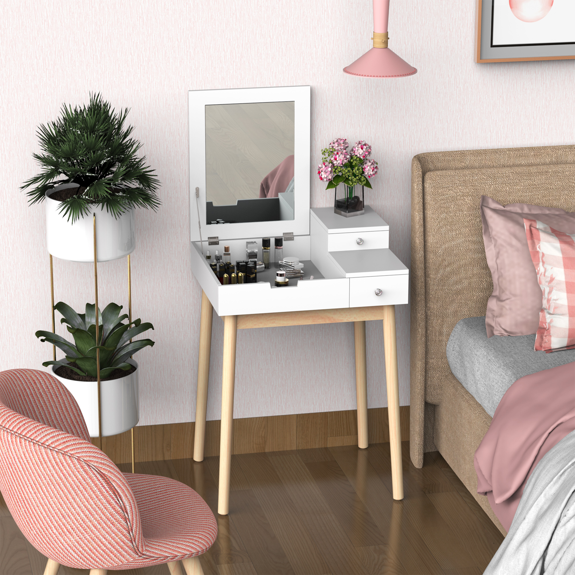 Coiffeuse design scandinave pin blanc