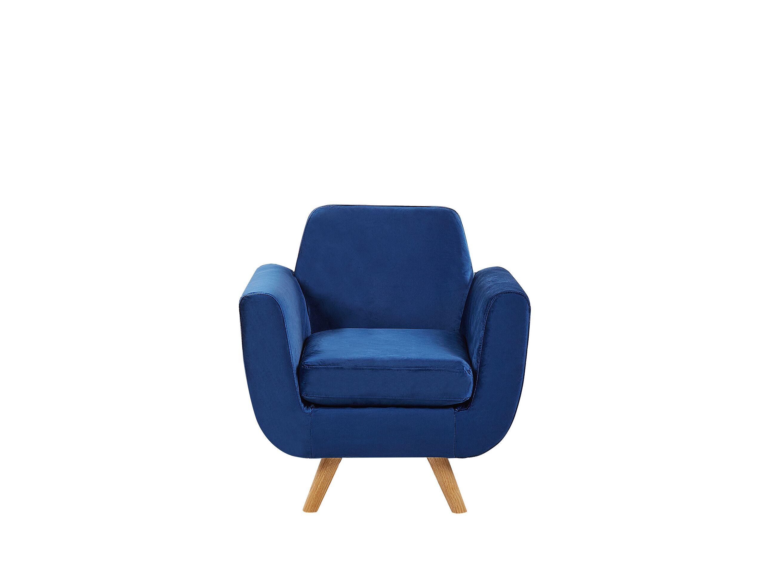Housse en velours bleu marine pour fauteuil