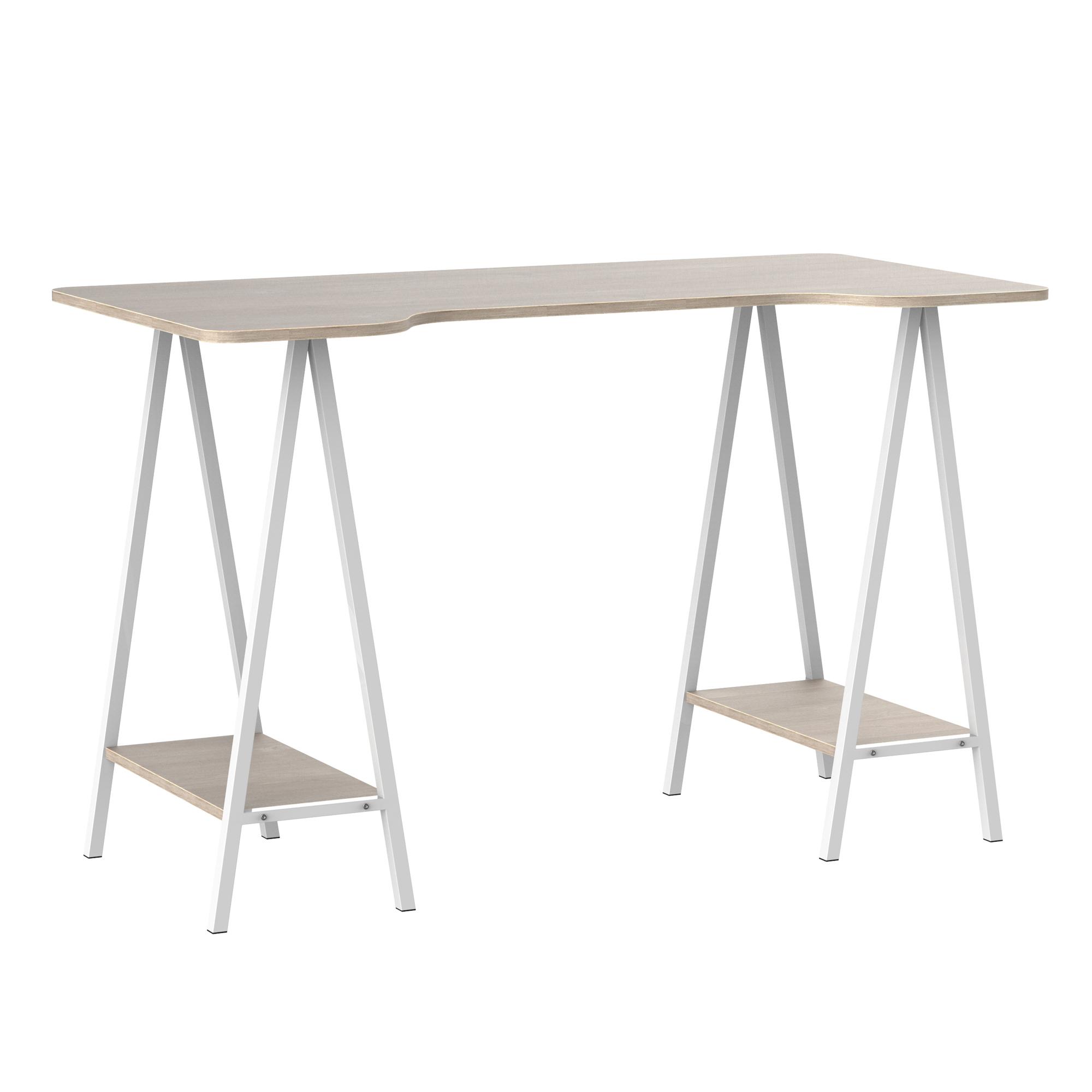 Bureau informatique design 2 étagères plateau aspect bois gris clair