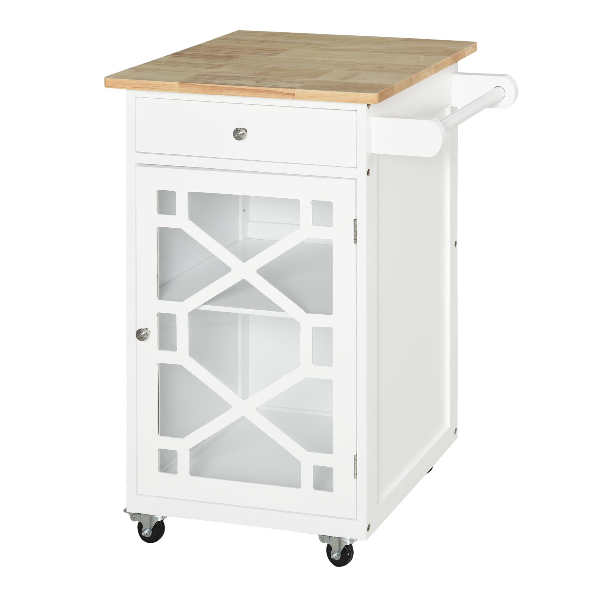Desserte cuisine tiroir placard porte-serviette bois caoutchouc blanc