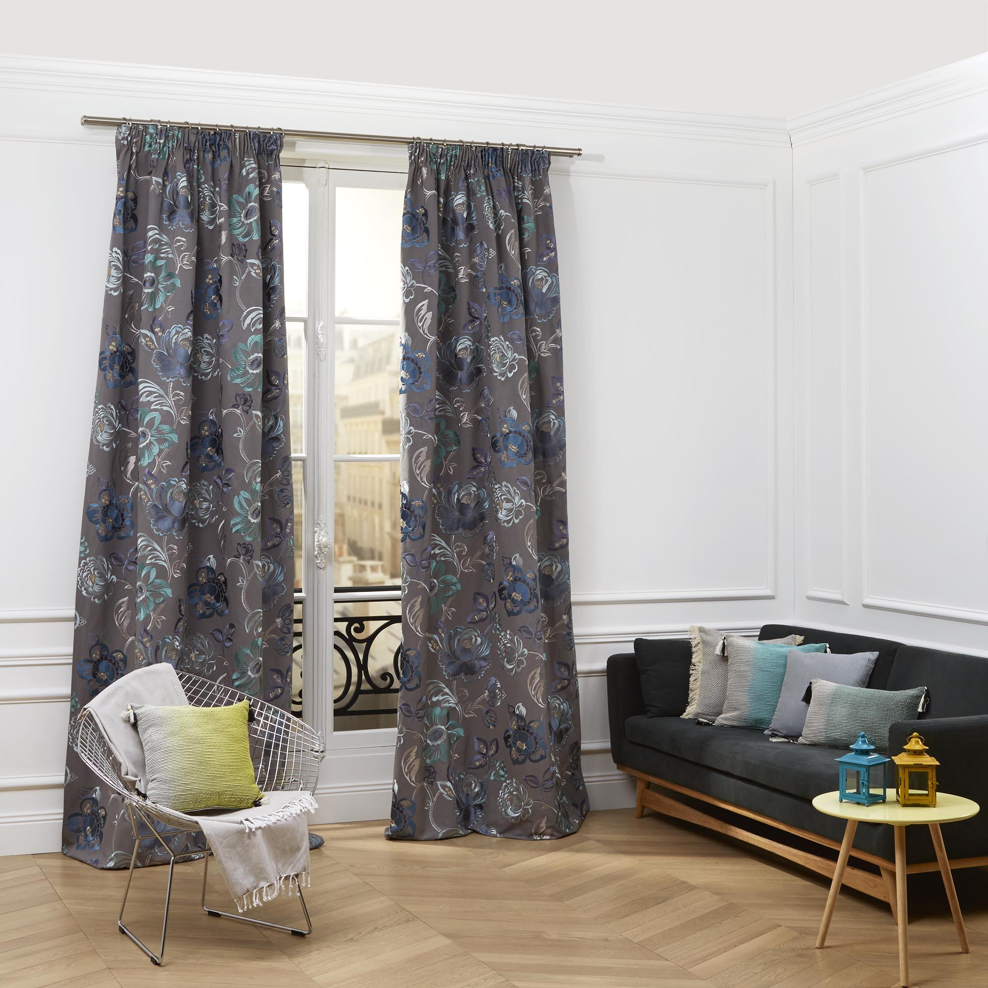 Rideau à ruban fronceur MAGELLAN 135x375 cm Bleu multicolore