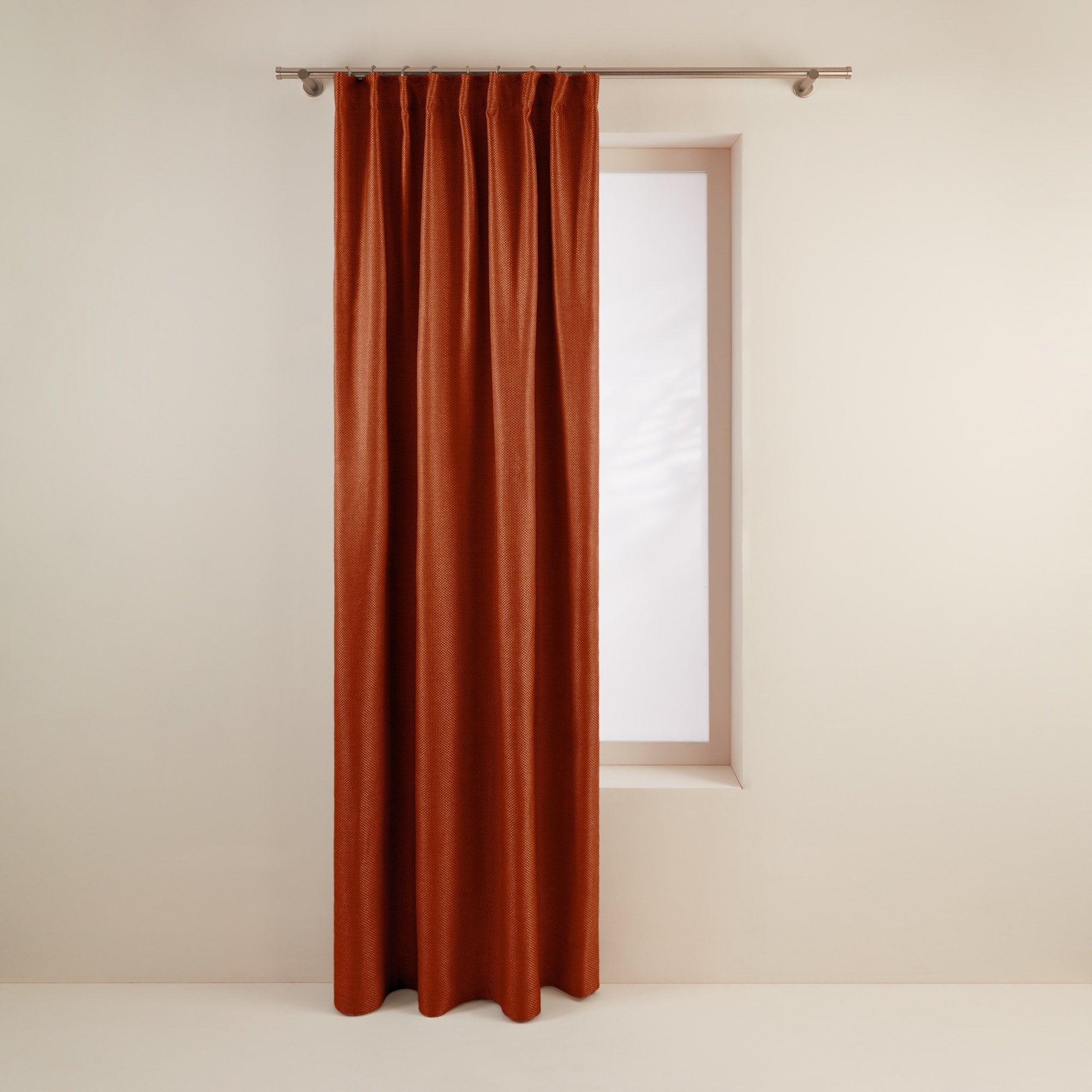 Rideau à ruban fronceur 145x280 cm Orange brique