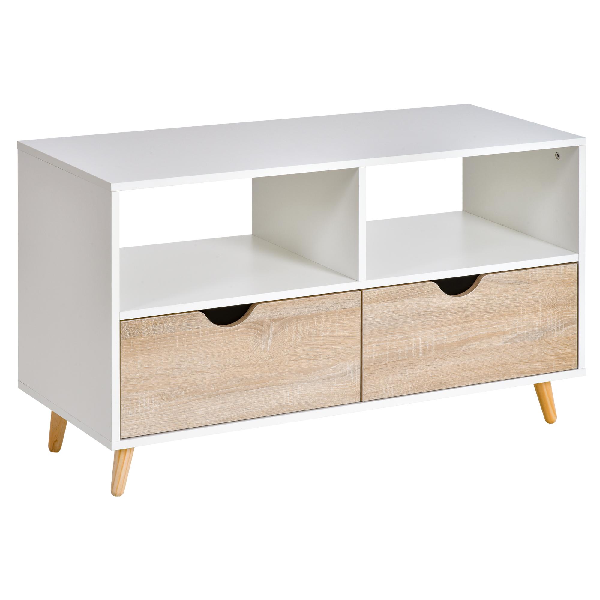 Meuble TV bas sur pieds style scandinave 2 tiroirs chêne clair blanc