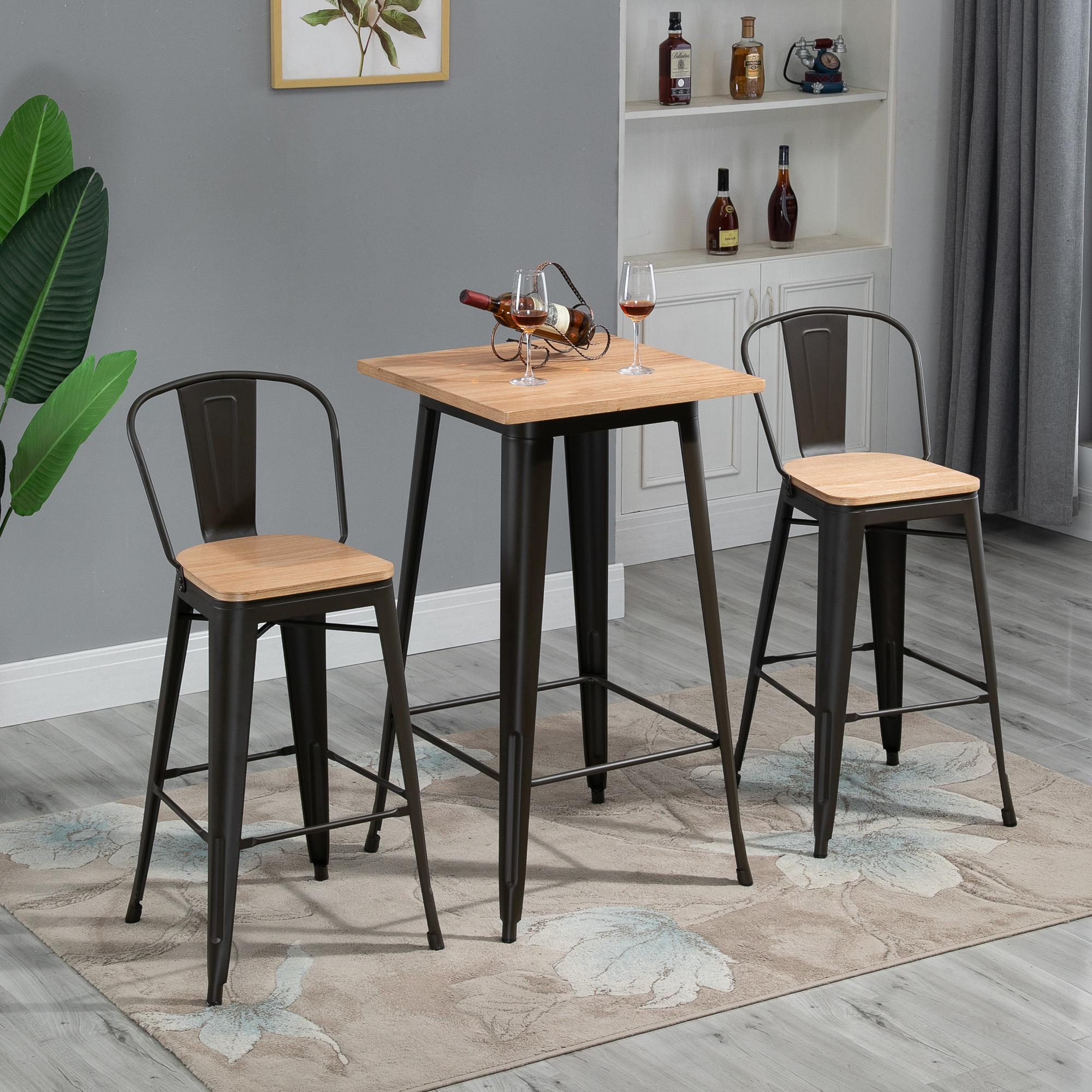Table de bar carrée design industriel repose-pied noir plateau bois