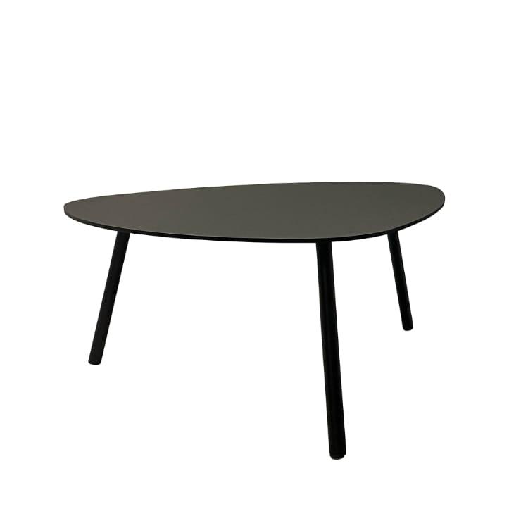 Table basse de jardin aluminium et acier noir D90cm