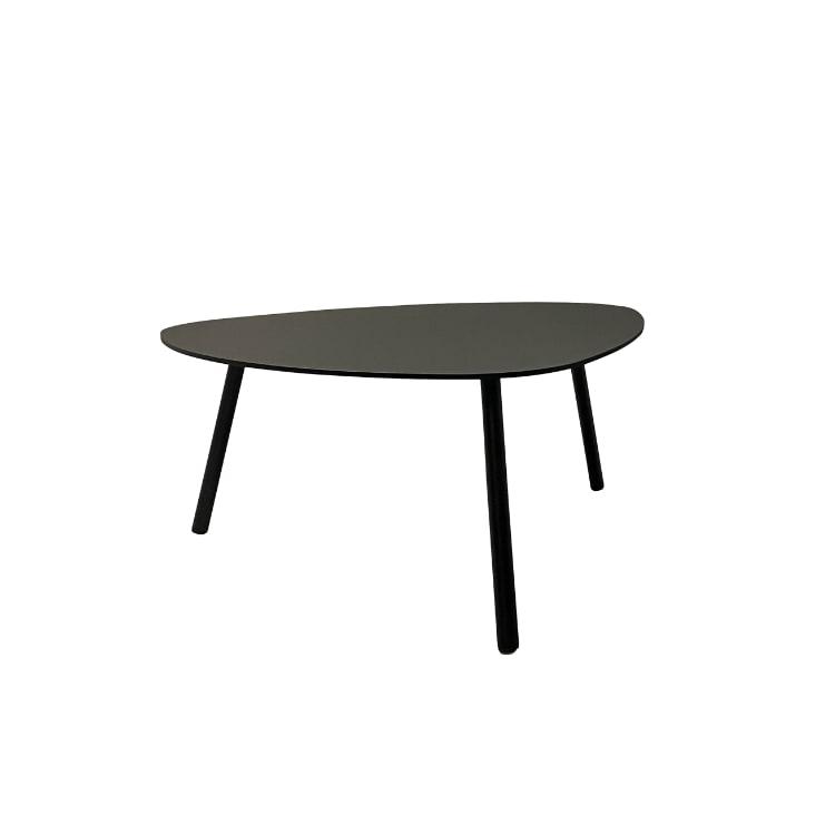 Table basse de jardin aluminium et acier noir D74cm